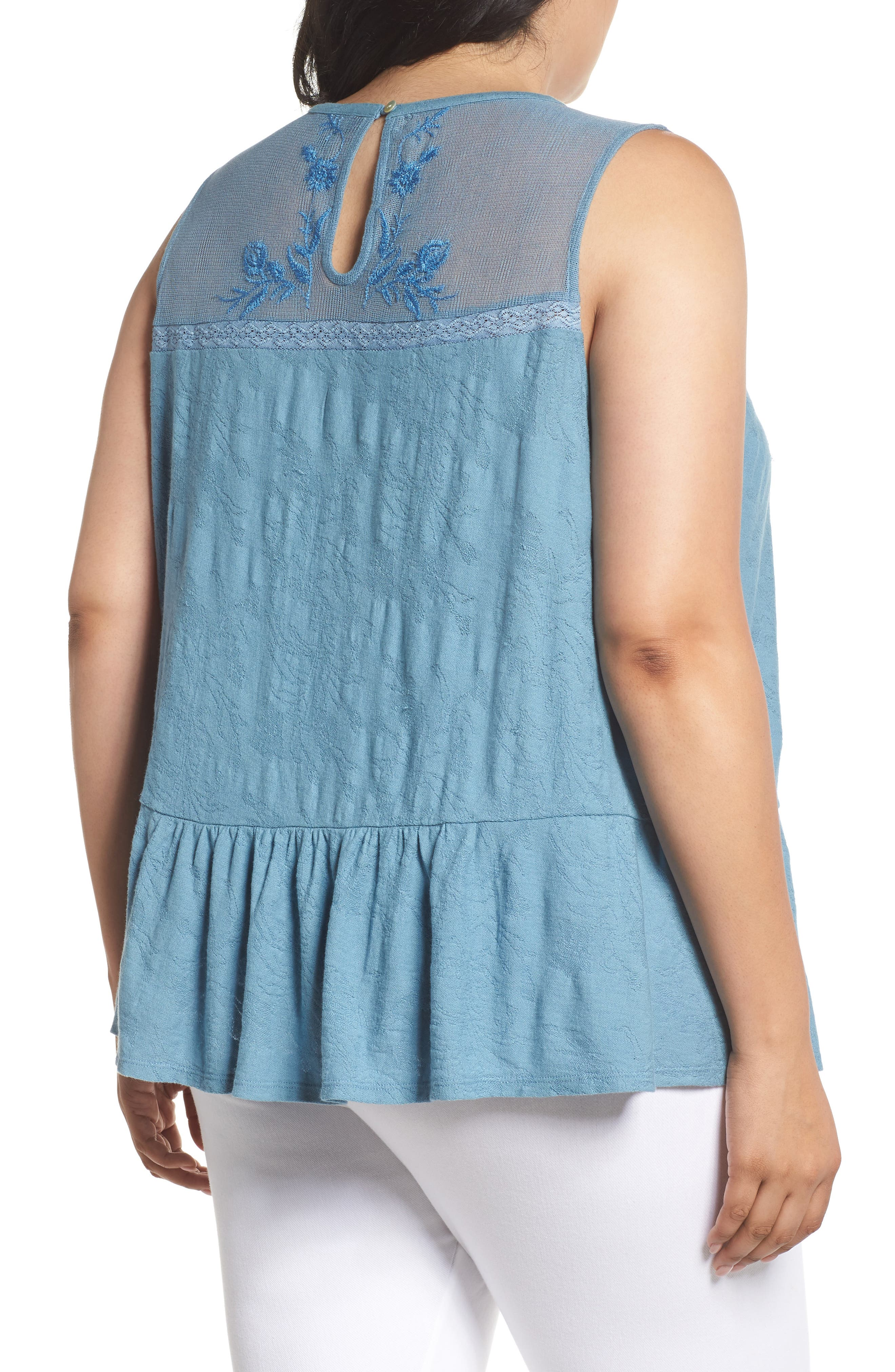 Lucky Tiered Jacquard Tank,                             Alternate thumbnail 4, color,