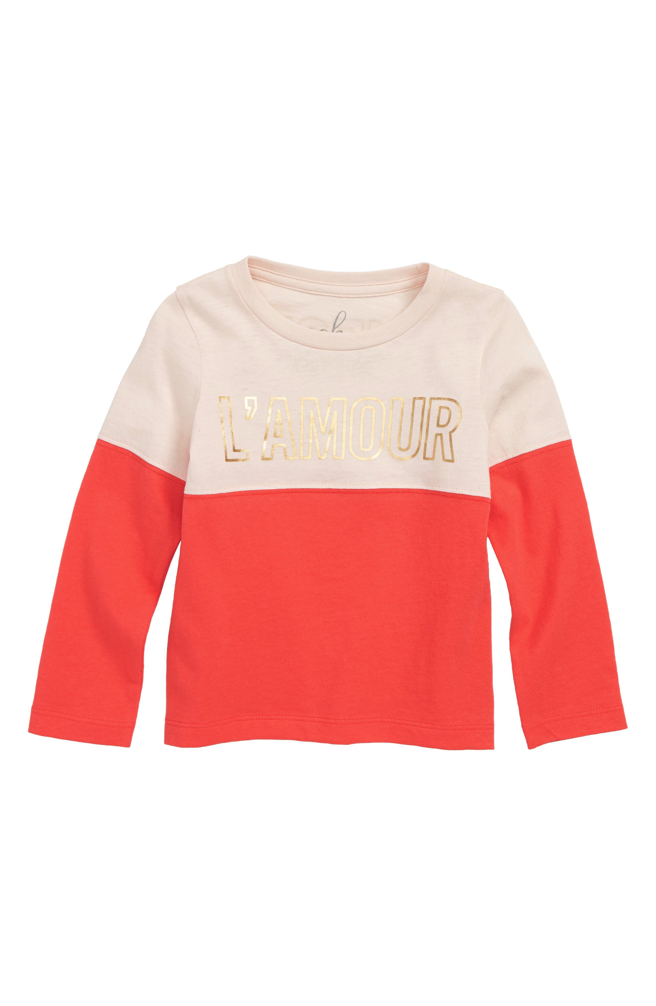 L'Amour Graphic Tee,                             Main thumbnail 1, color,                             PEACH