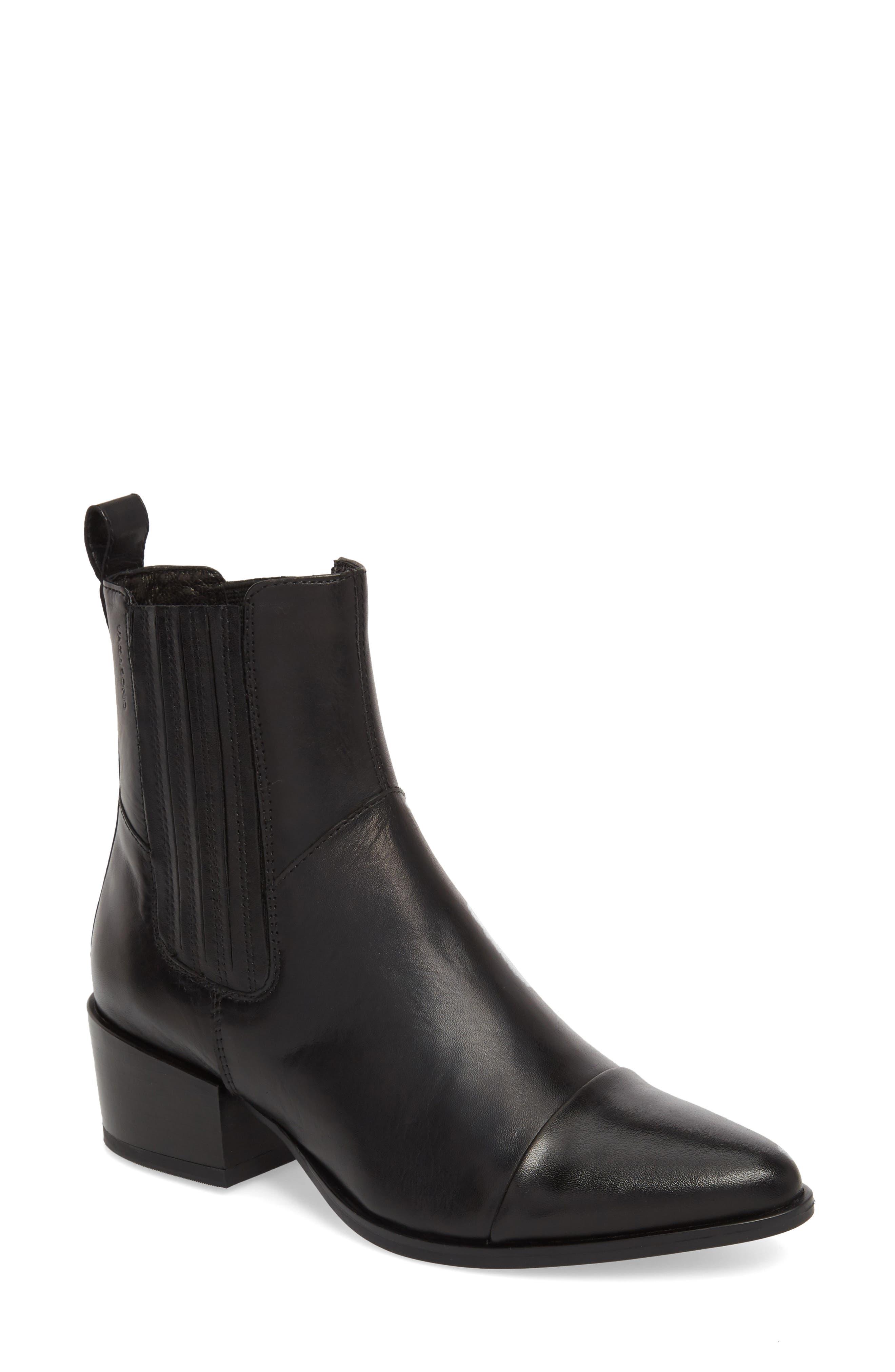 VAGABOND,                             Shoemakers Marja Cap Toe Bootie,                             Main thumbnail 1, color,                             BLACK LEATHER