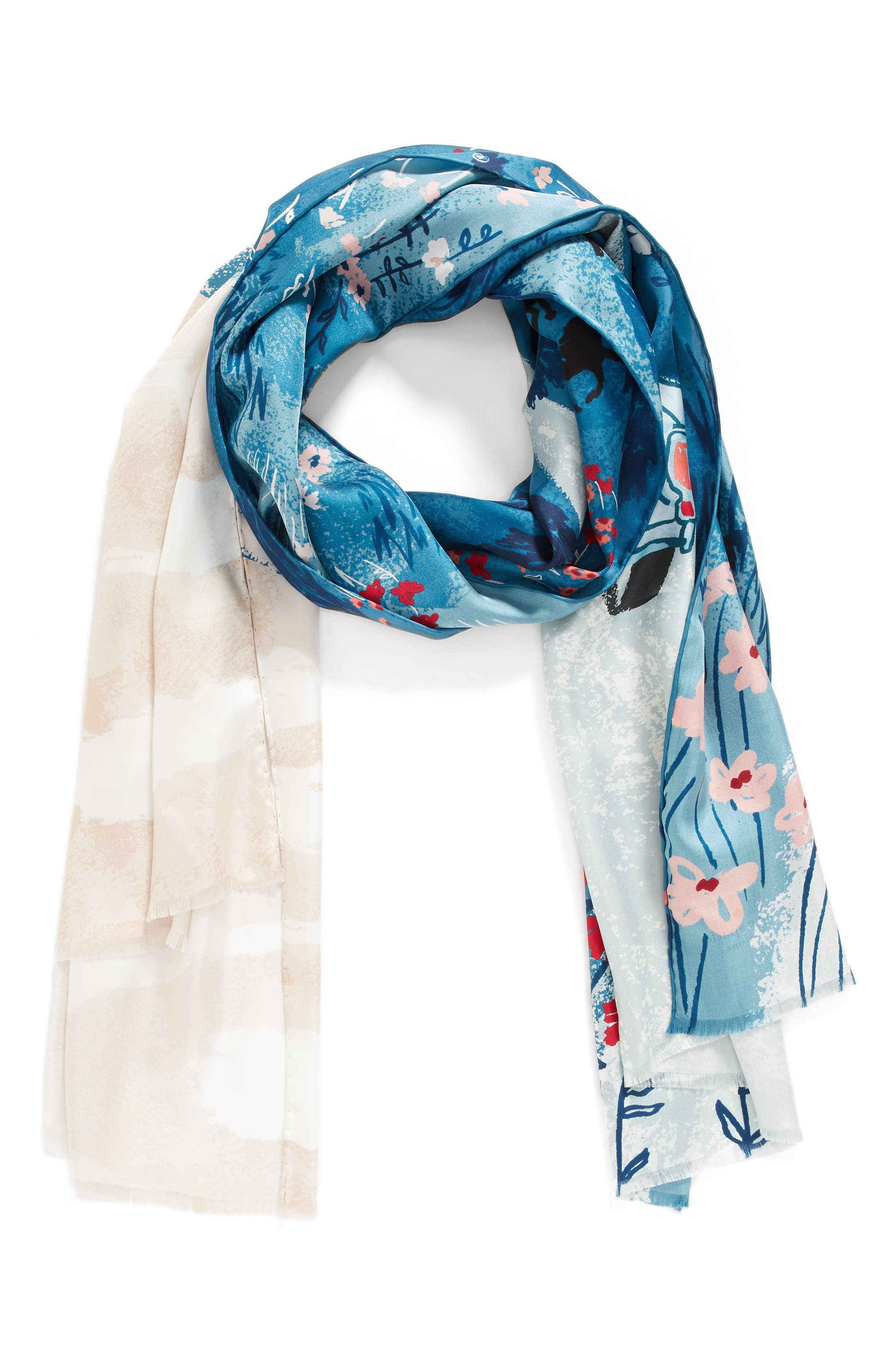 road oblong silk scarf,                             Alternate thumbnail 2, color,                             409