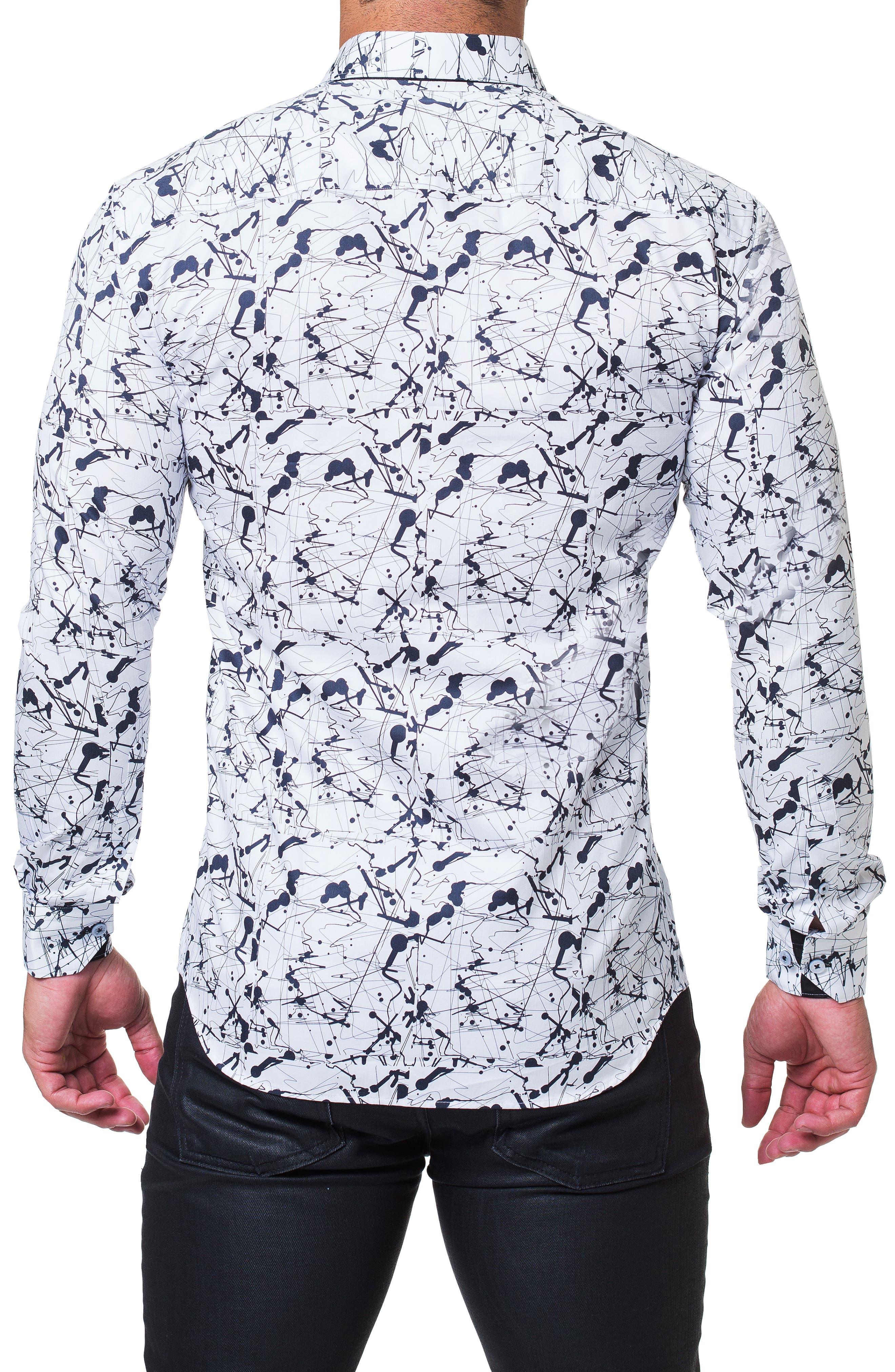 Fibonacci Haring Trim Fit Print Sport Shirt,                             Alternate thumbnail 2, color,                             WHITE