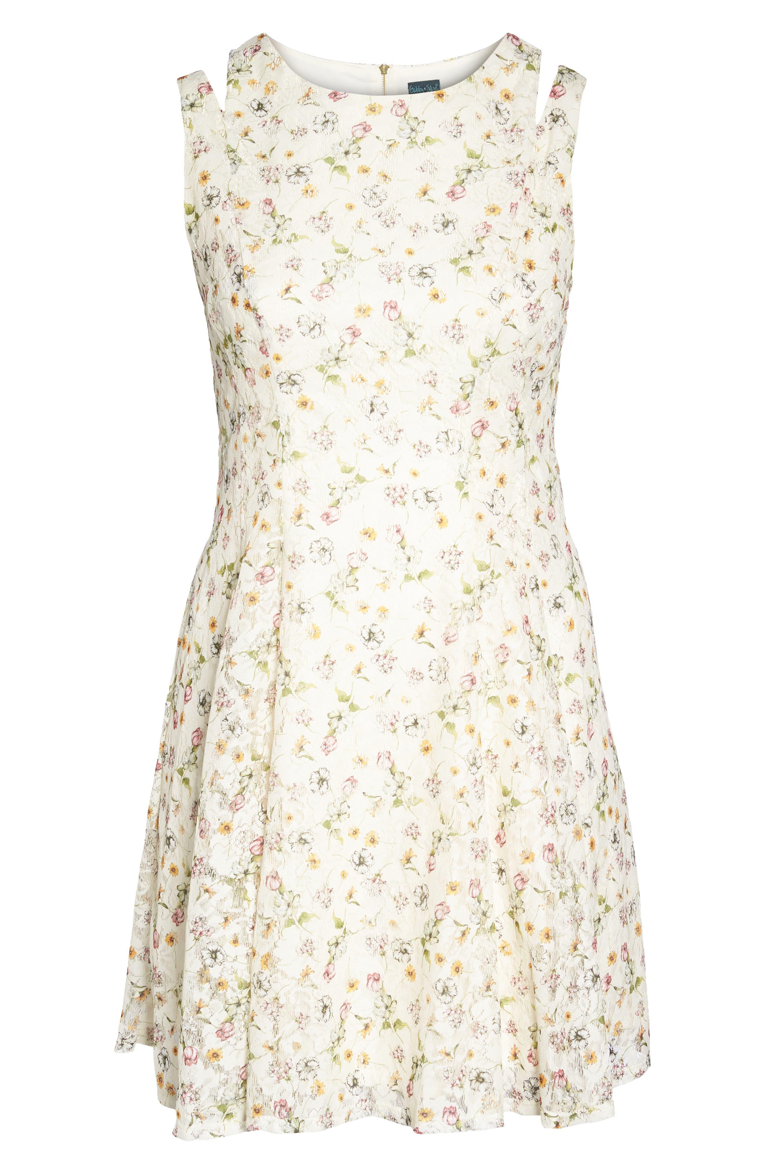 Cutout Shoulder Floral Print Lace Dress,                             Alternate thumbnail 6, color,                             111