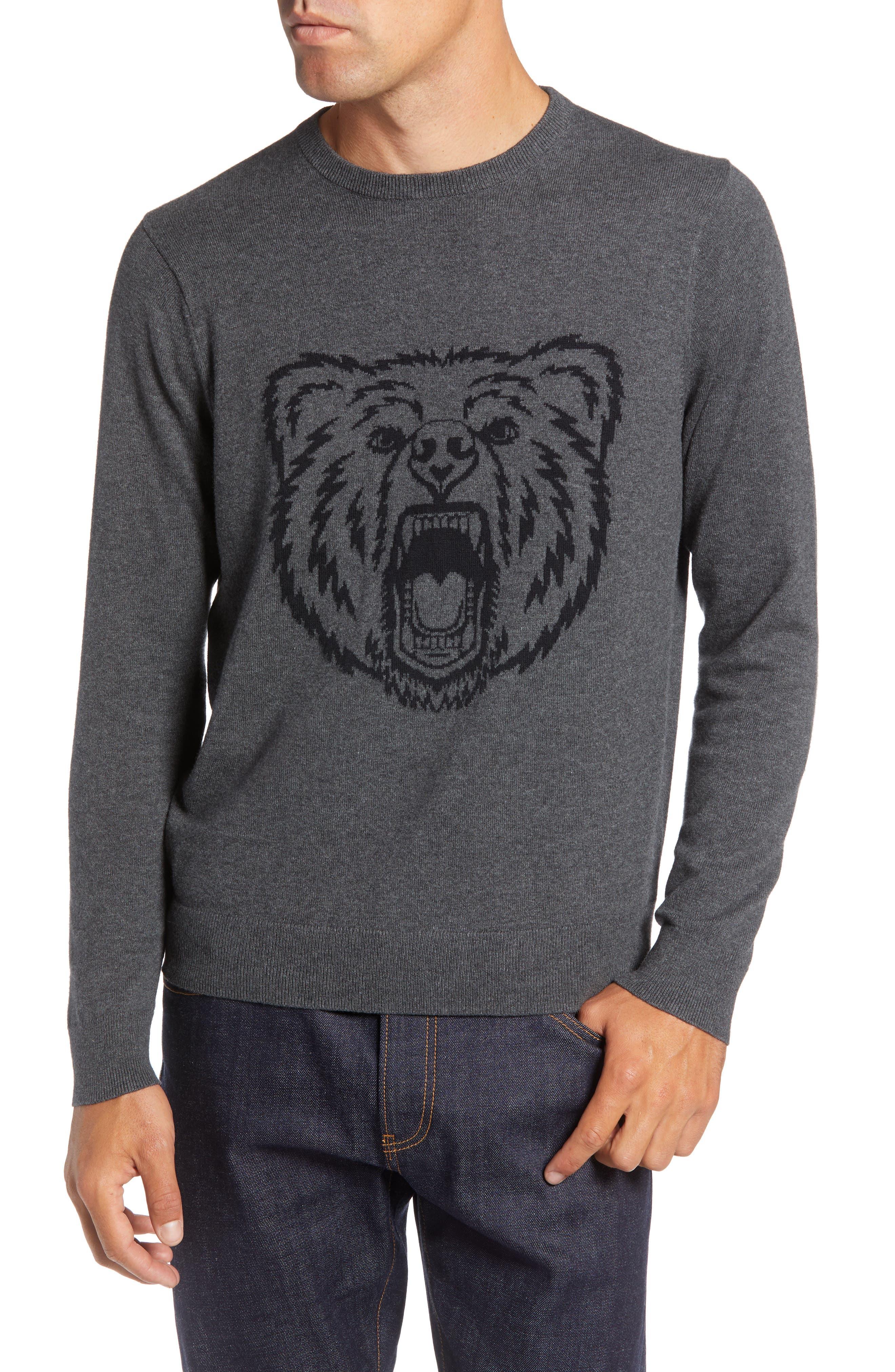 Bear Crewneck Sweater,                         Main,                         color, GREY CASTLEROCK MARL BEAR