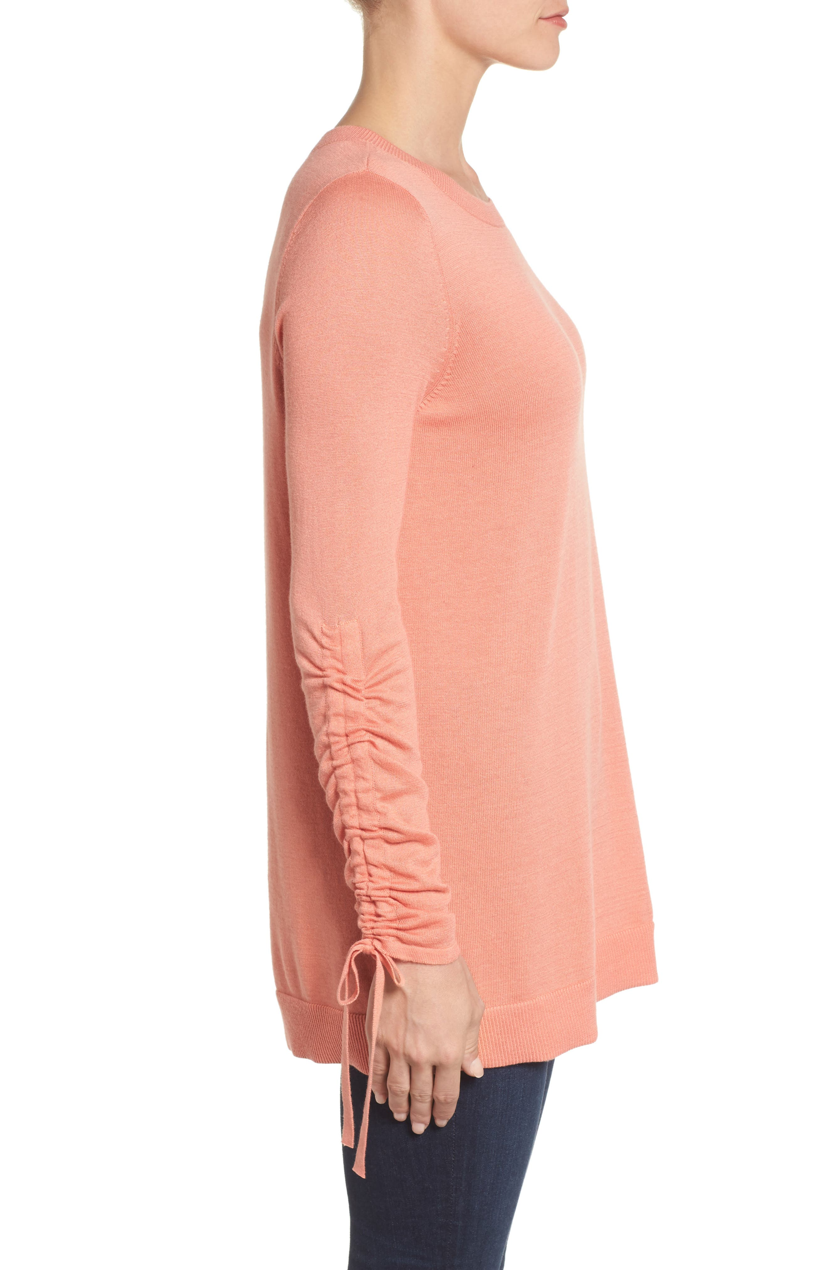 Ruched Sleeve Tunic Sweater,                             Alternate thumbnail 15, color,