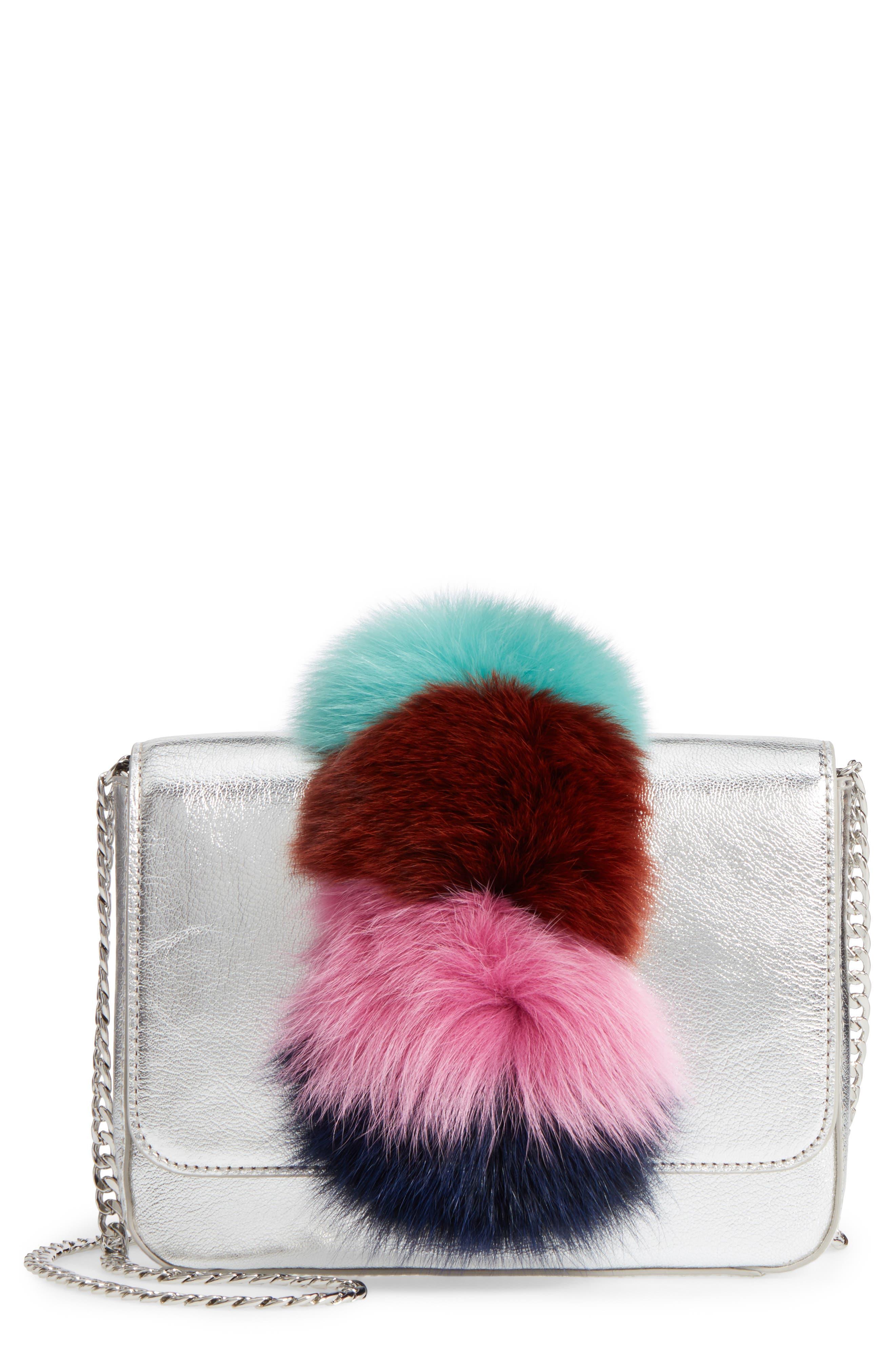 Lock Genuine Fox Fur Shoulder Bag,                             Main thumbnail 1, color,                             049