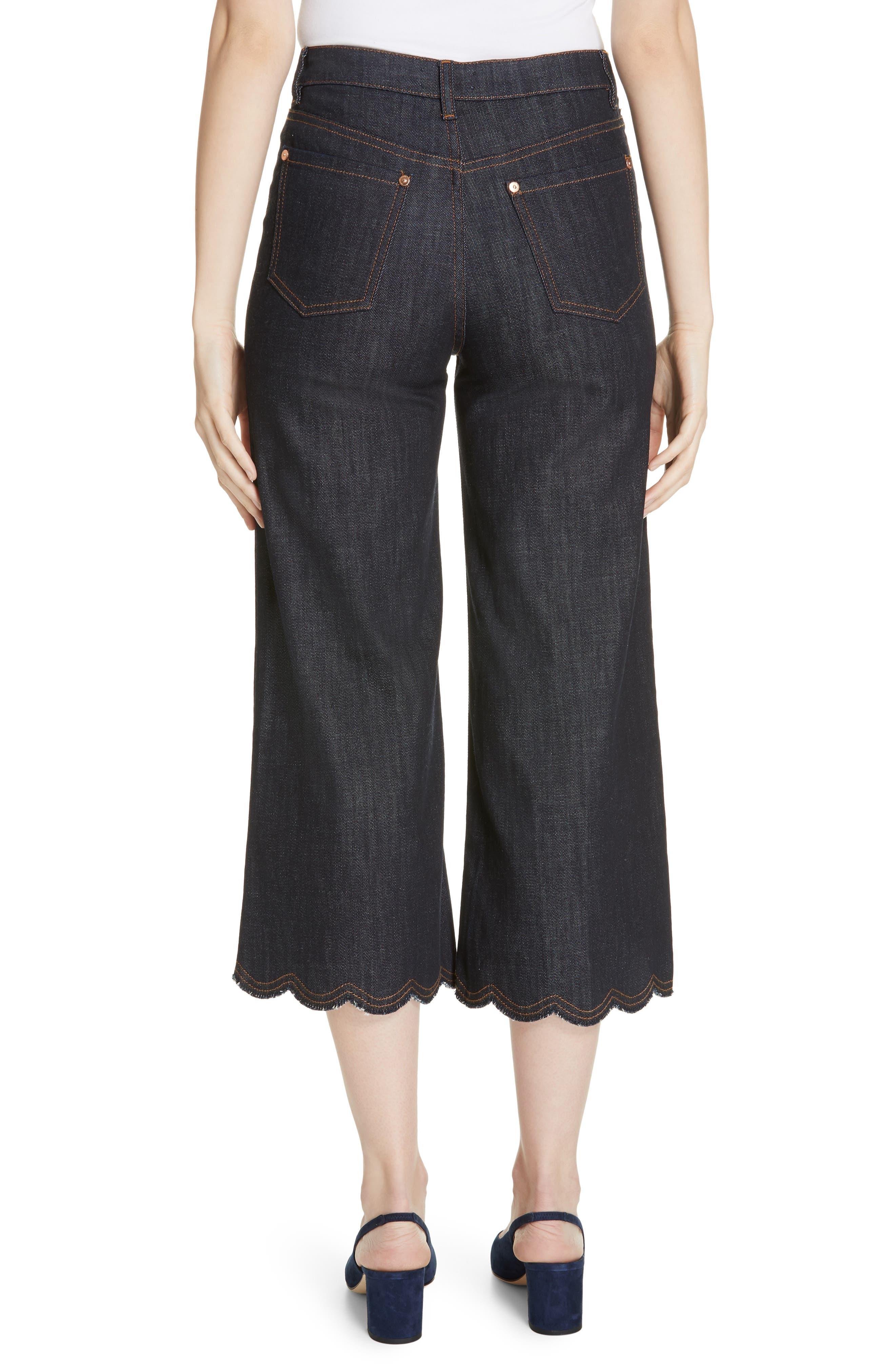 Scallop Hem Crop Wide Leg Jeans,                             Alternate thumbnail 2, color,                             BLUE DENIM