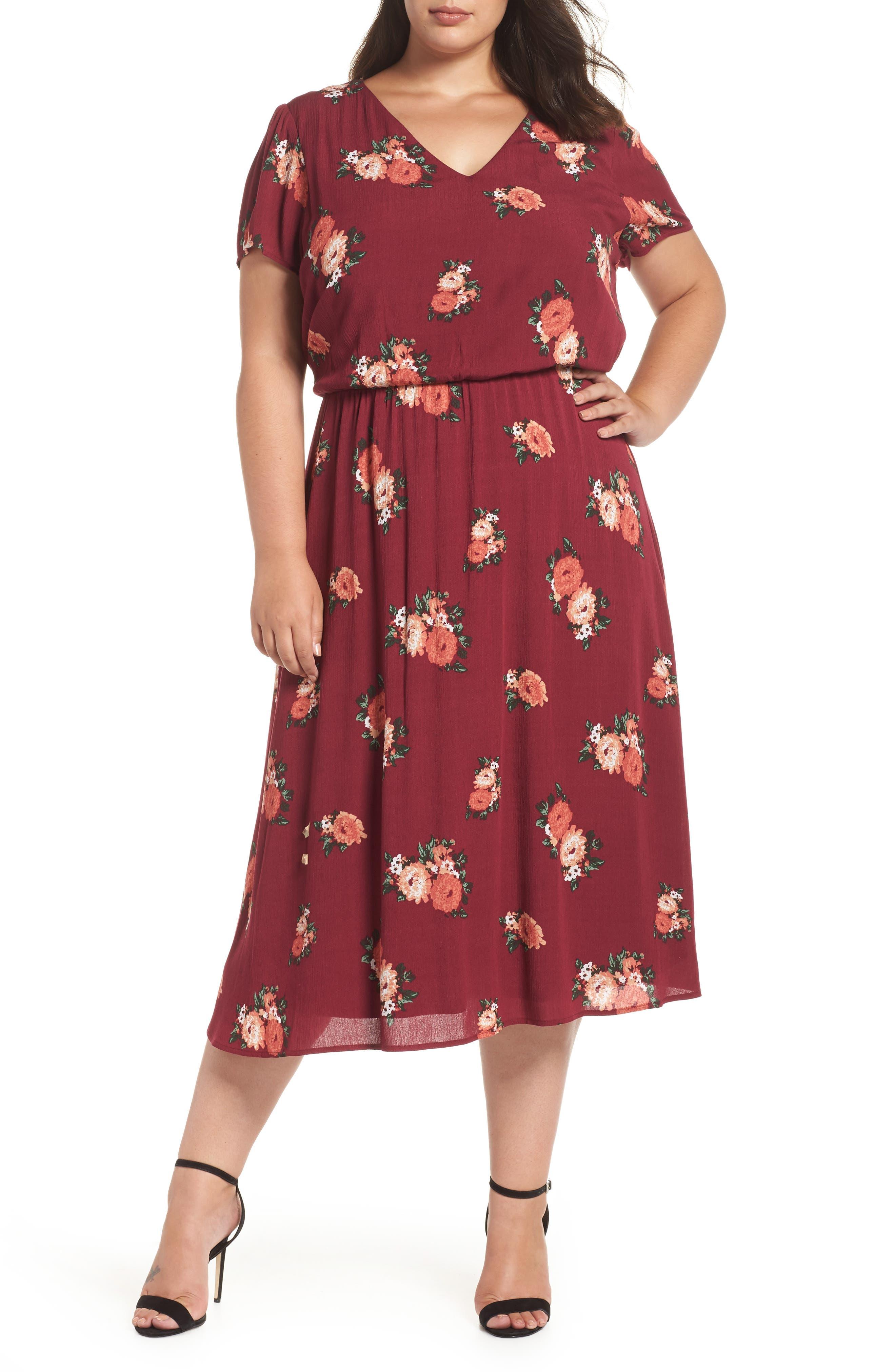 Blouson Midi Dress,                             Main thumbnail 1, color,                             RED RUMBA FLORAL