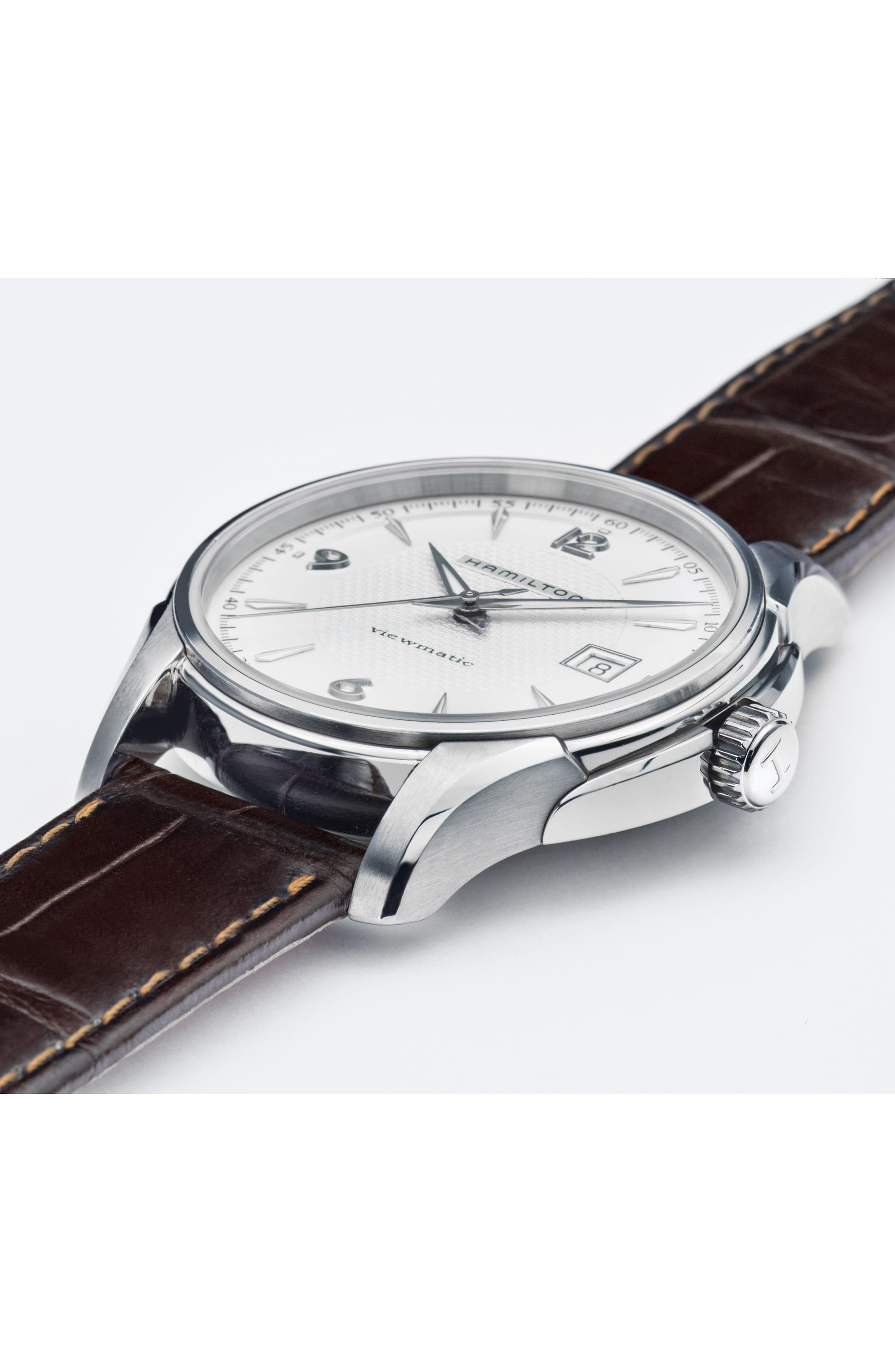 Jazzmaster Viewmatic Auto Leather Strap Watch, 40mm,                             Alternate thumbnail 3, color,                             BROWN/ SILVER