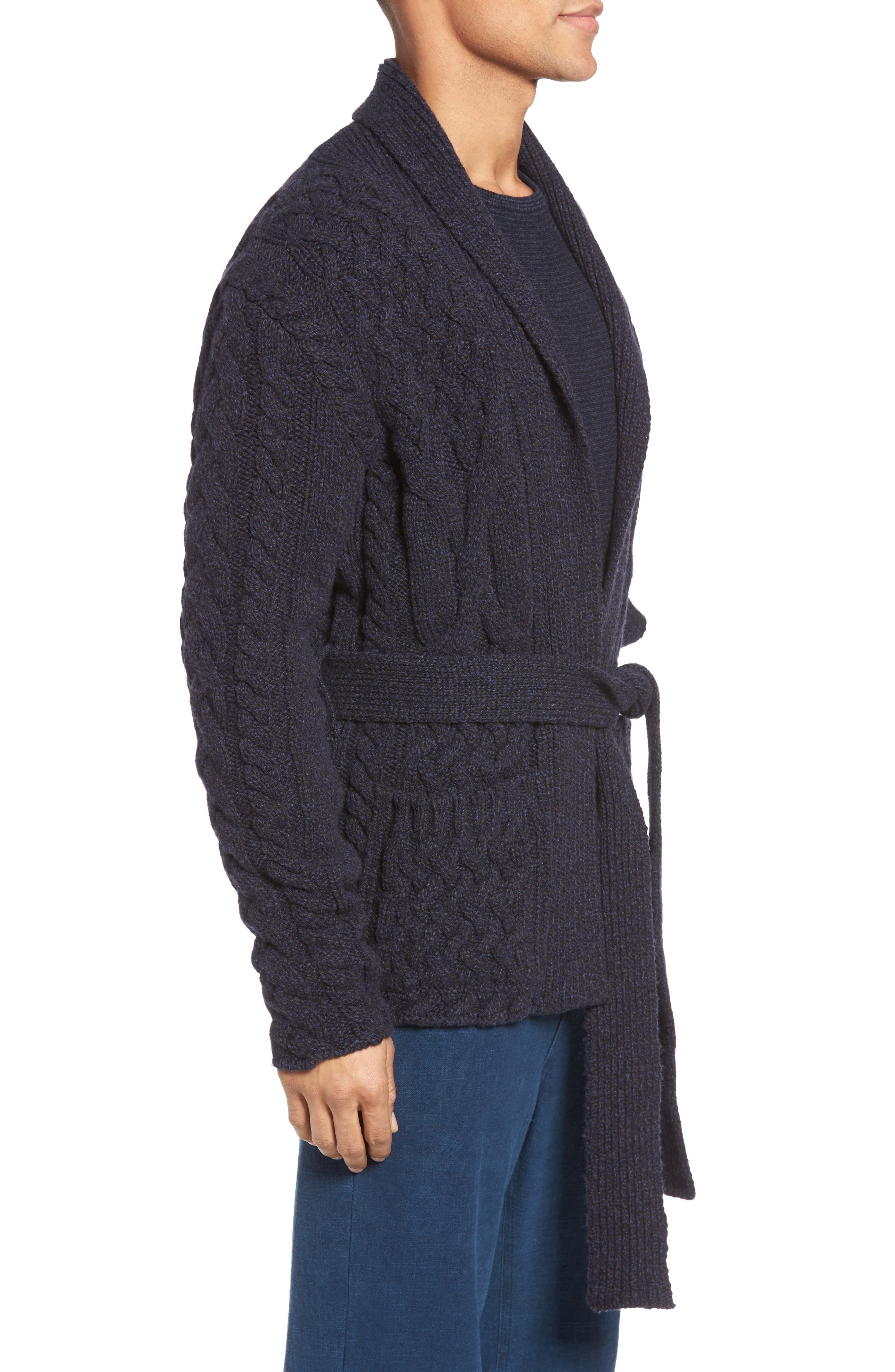 EIDOS,                             Napoli Cable Knit Wool Cardigan,                             Alternate thumbnail 3, color,                             405