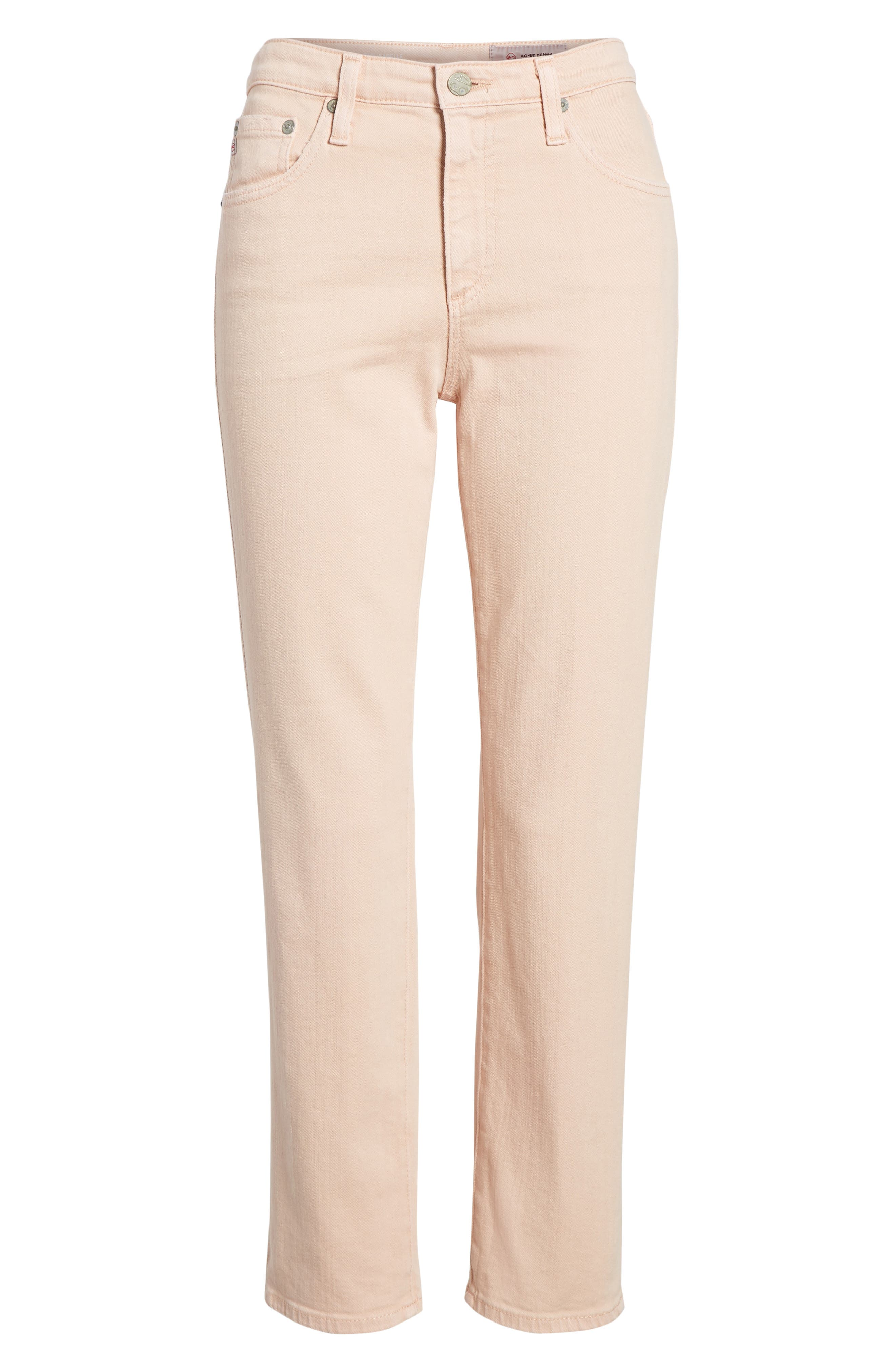 The Isabelle High Waist Crop Straight Leg Jeans,                             Alternate thumbnail 7, color,                             1 YEAR SULFUR ROSY ROGUE