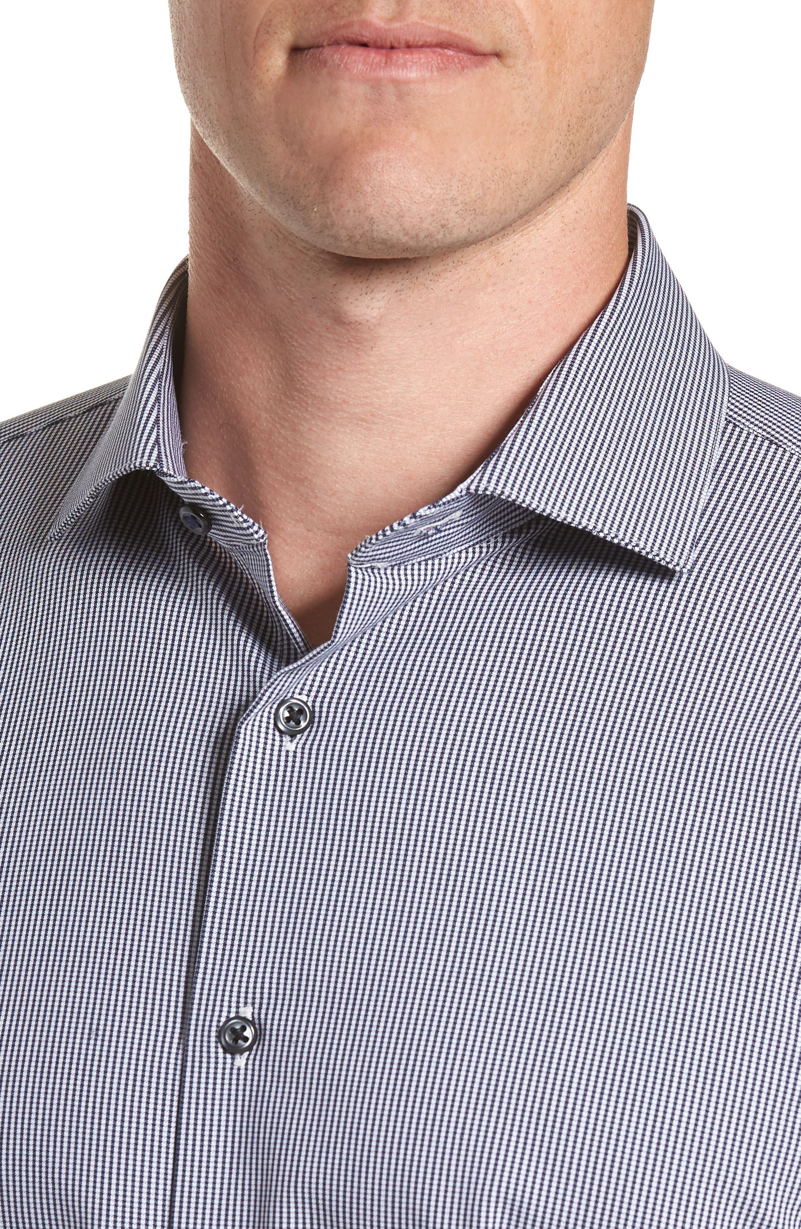 Tech-Smart Trim Fit Houndstooth Dress Shirt,                             Alternate thumbnail 3, color,