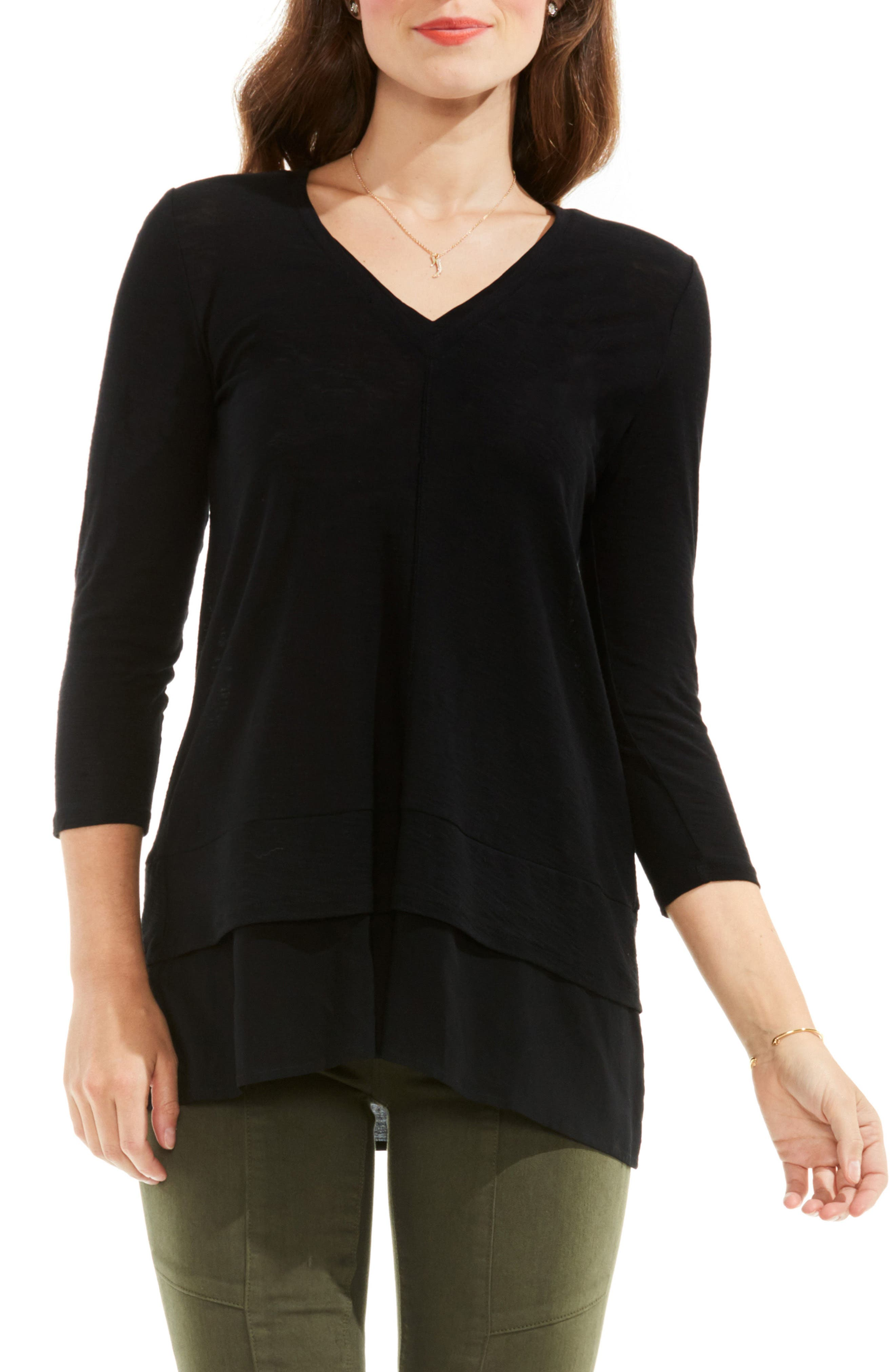 TWO BY VINCE CAMUTO Petites Mixed Media Top in Rich Black