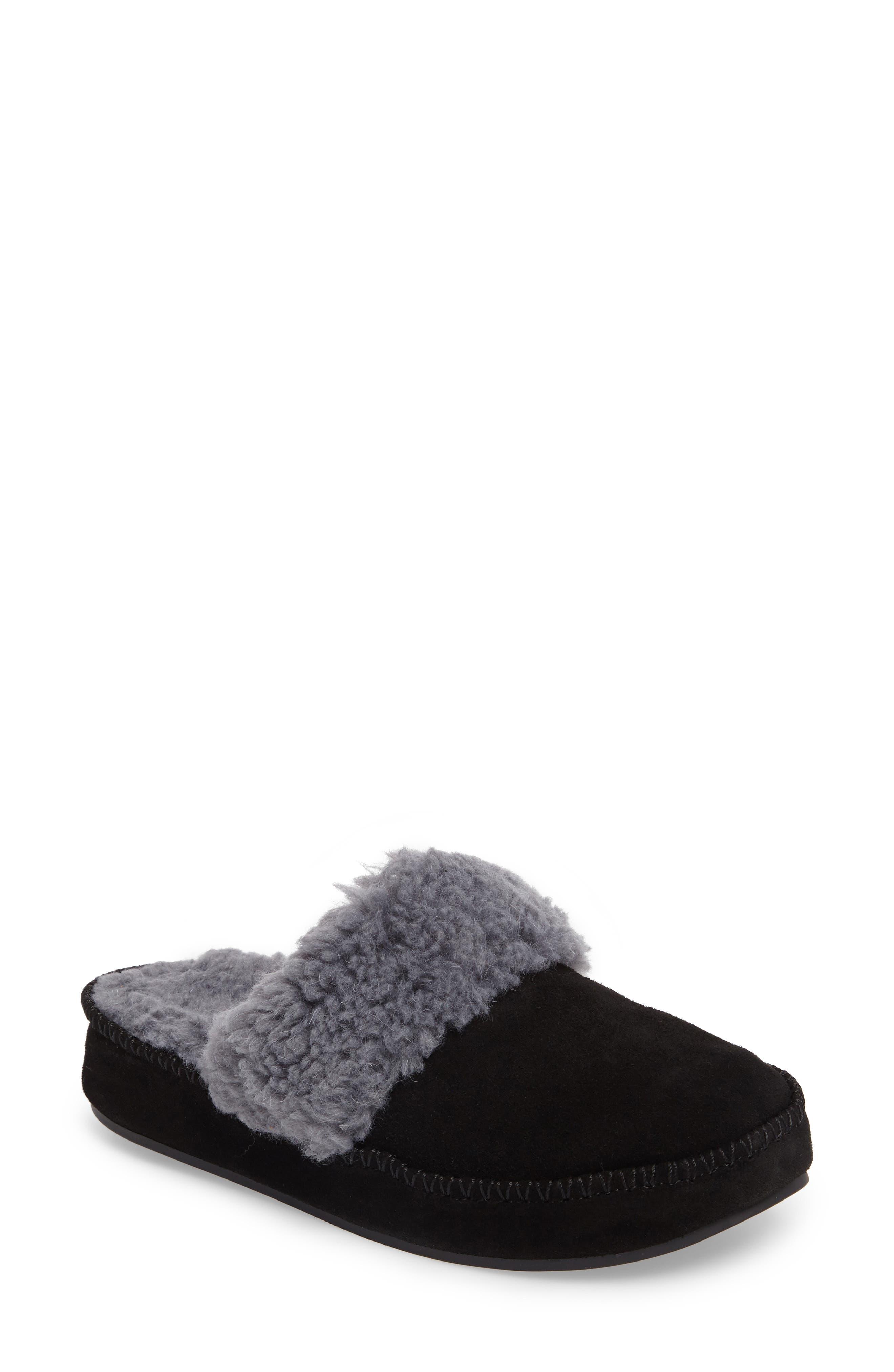 VIONIC Marley Faux Fur Slipper, Main, color, BLACK SUEDE
