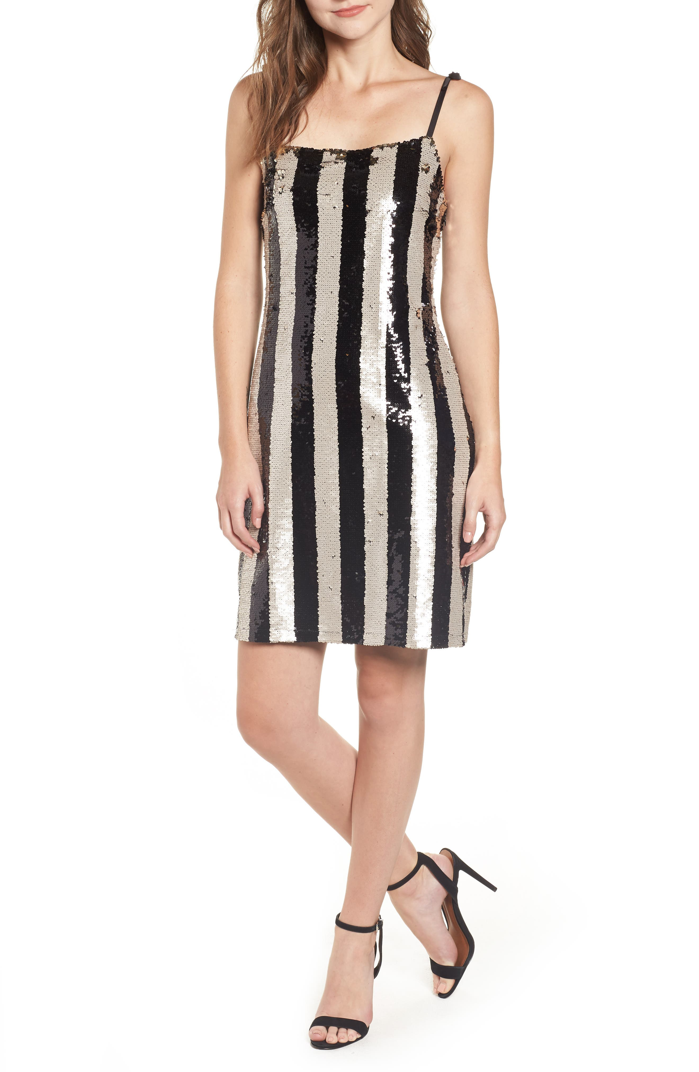 CUPCAKES AND CASHMERE Johan Striped Sequin Cocktail Dress in Black
