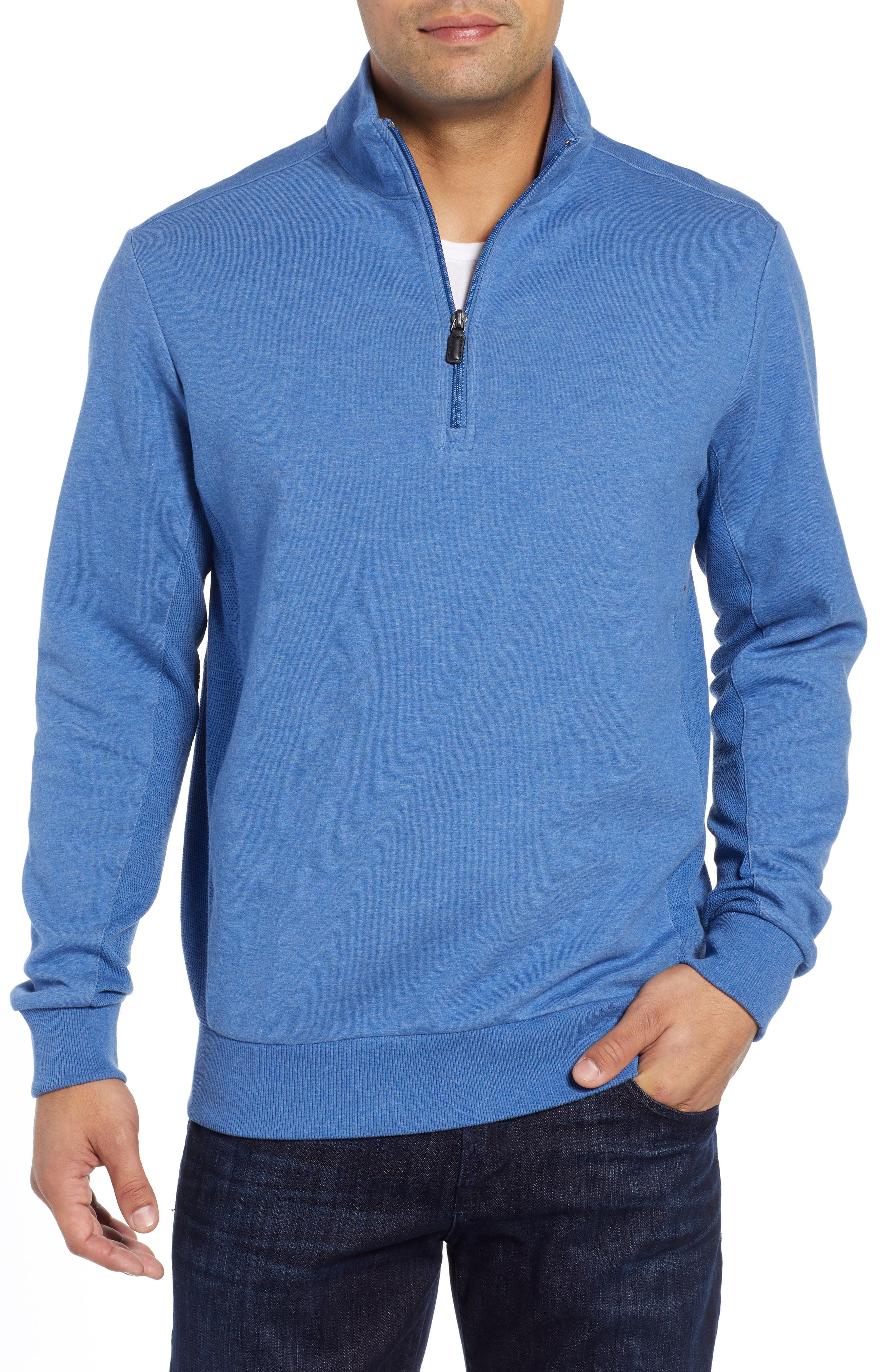 Quarter Zip Knit Sweater,                         Main,                         color, NIGHT BLUE