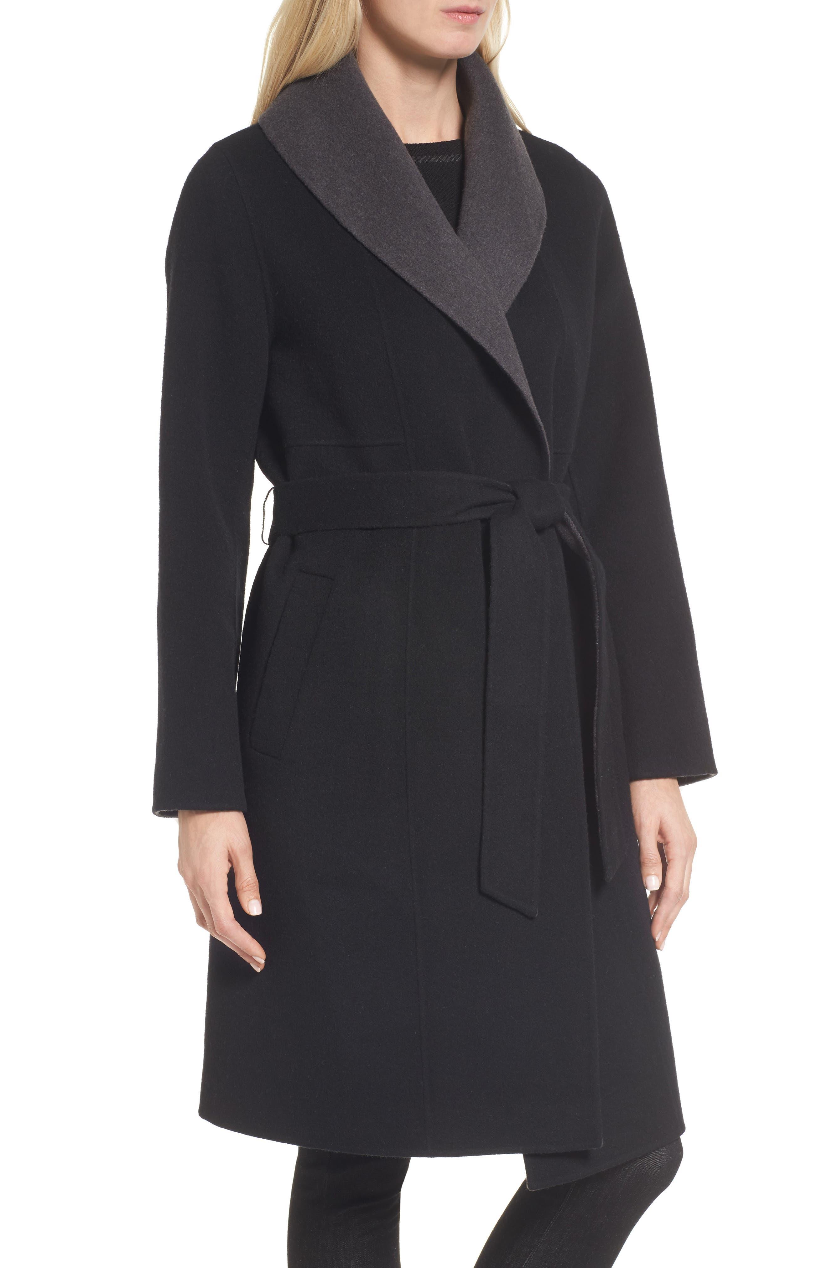 Double-Face Wool Blend Coat,                             Alternate thumbnail 4, color,                             010