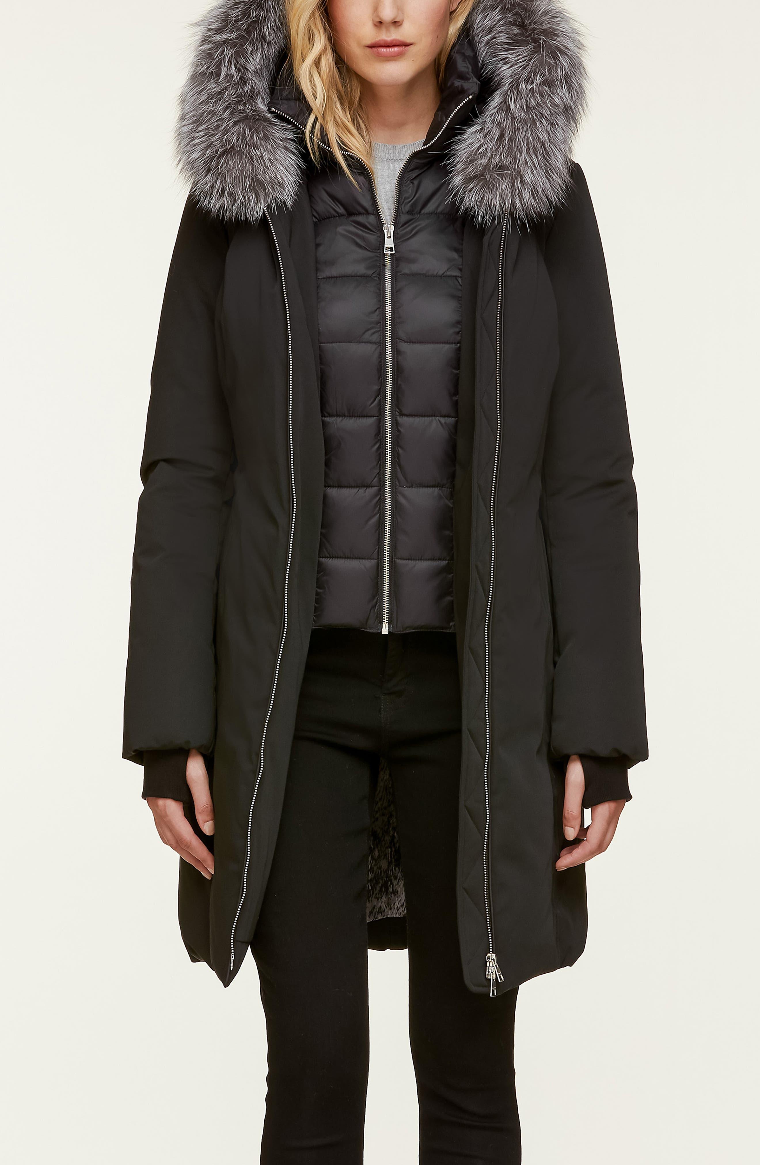 Slim Fit Water Resistant Down Jacket with Genuine Fox Fur Trim,                             Alternate thumbnail 5, color,                             BLACK