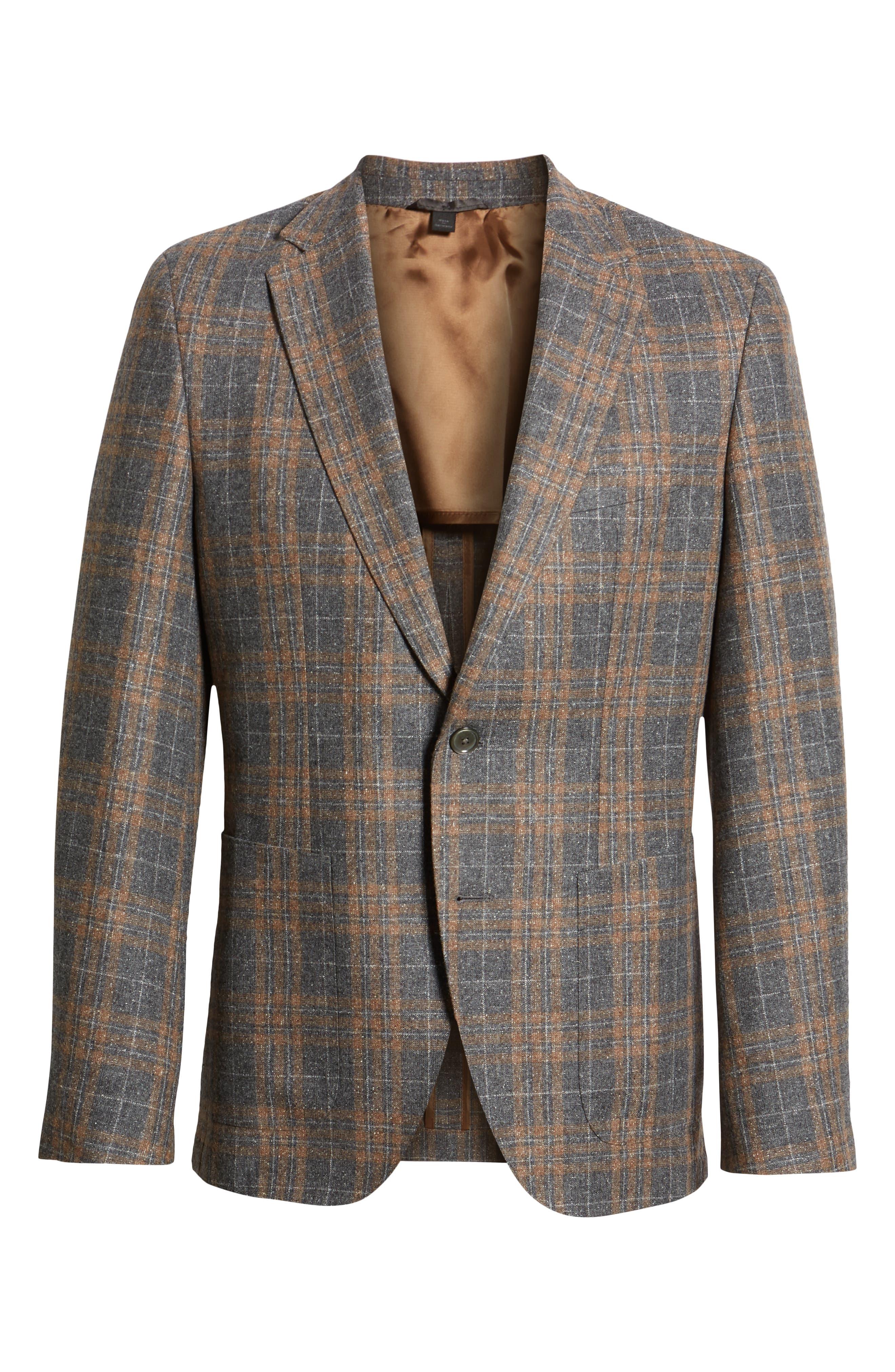 Janson Classic Fit Plaid Wool Blend Sport Coat,                             Alternate thumbnail 5, color,                             MEDIUM GREY