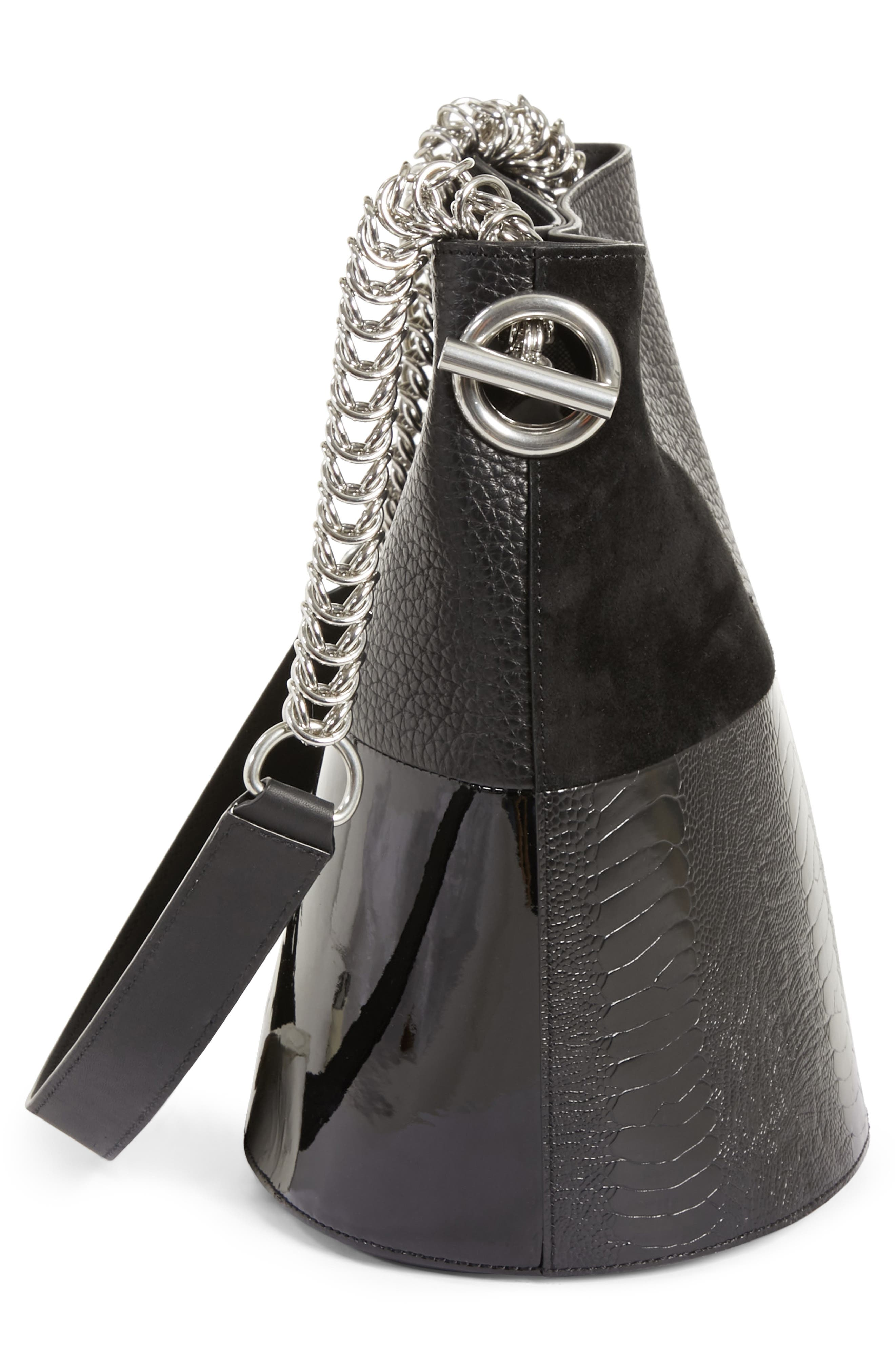 Genesis Patchwork Leather Bucket Bag,                             Alternate thumbnail 5, color,                             BLACK