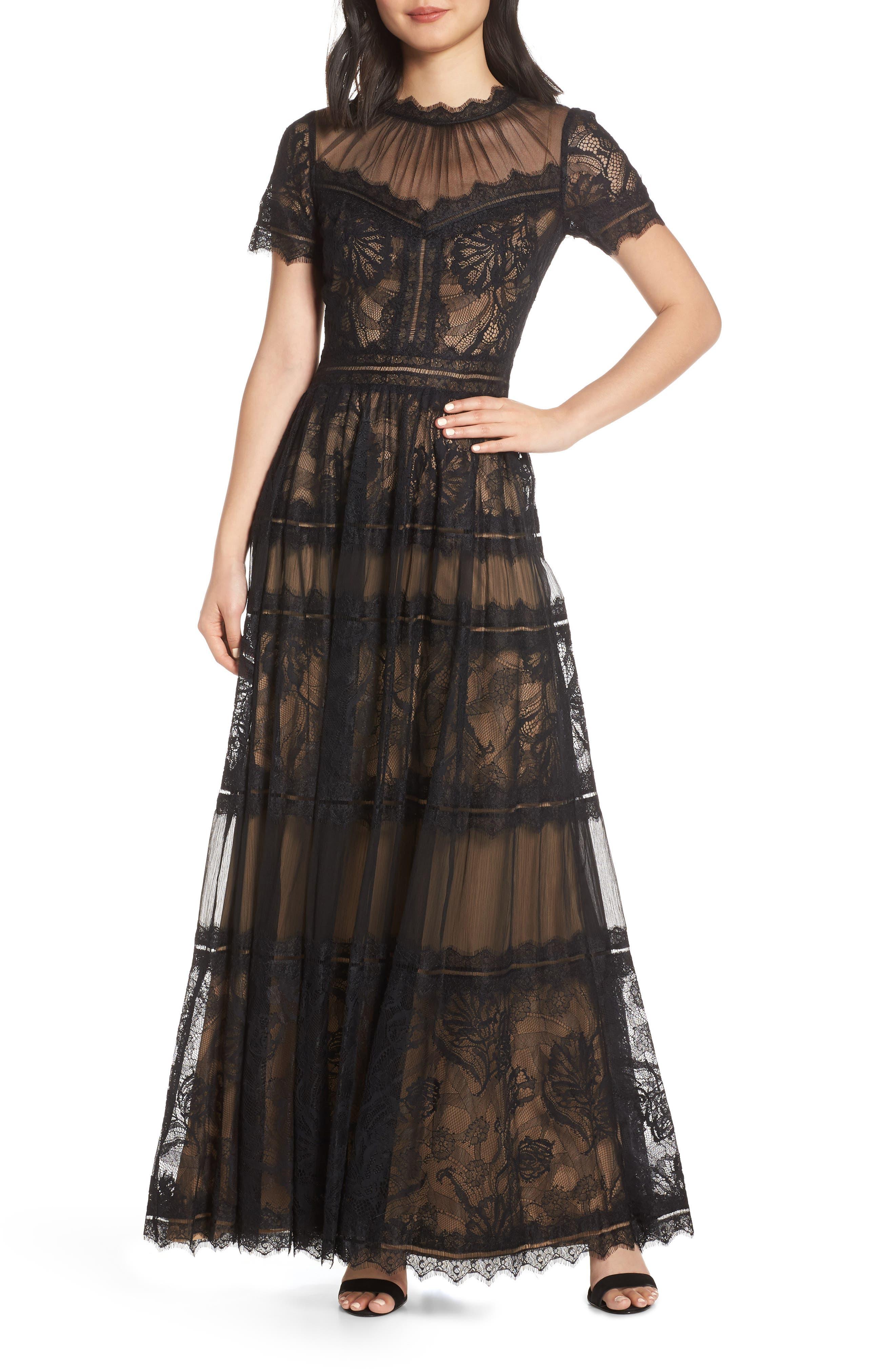 Tadashi Shoji Lace Evening Dress, Black