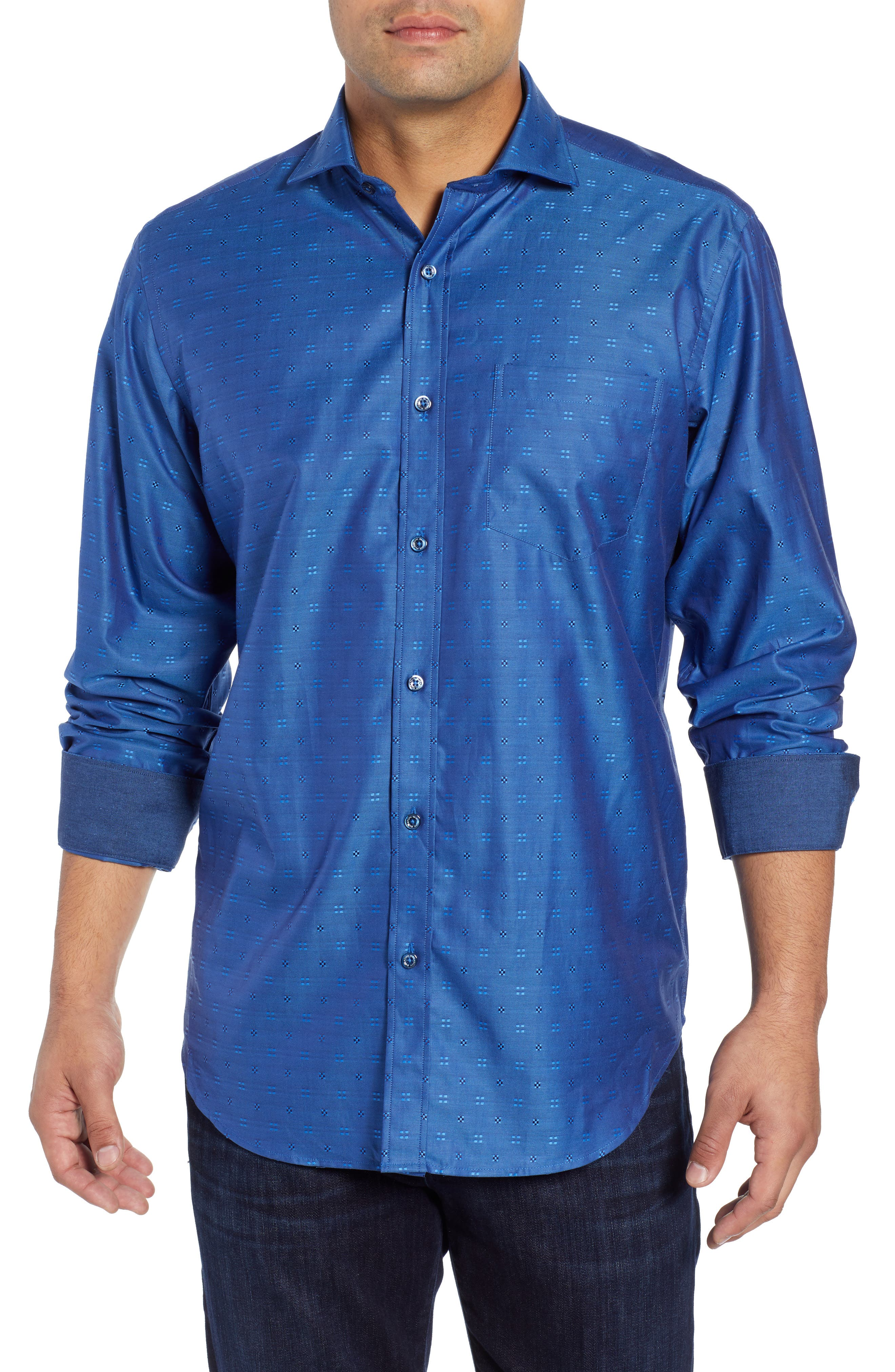 BUGATCHI,                             Classic Fit Embroidered Sport Shirt,                             Main thumbnail 1, color,                             CLASSIC BLUE