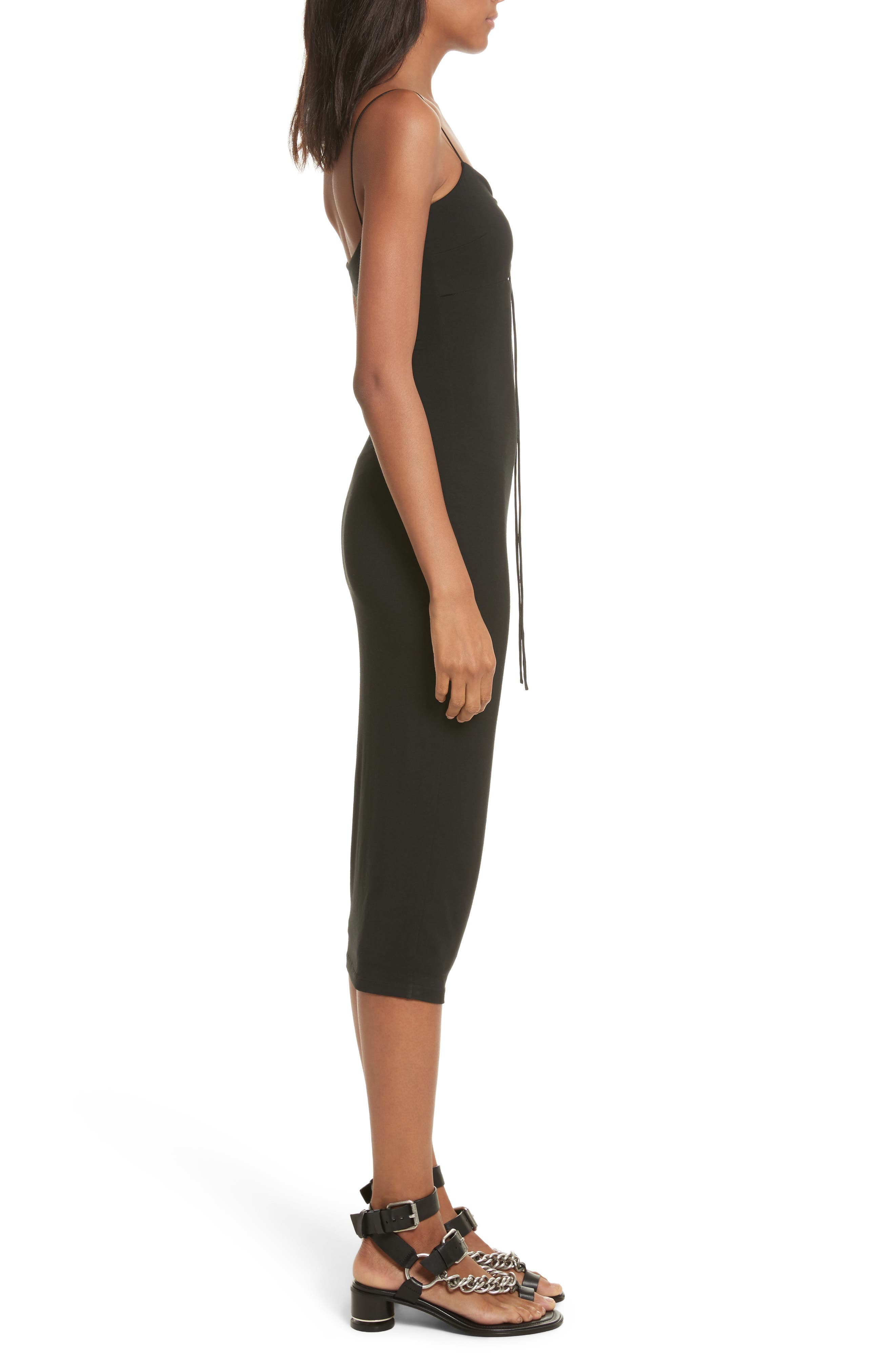 T by Alexander Wang Cutout Stretch Jersey Midi Dress,                             Alternate thumbnail 3, color,                             001