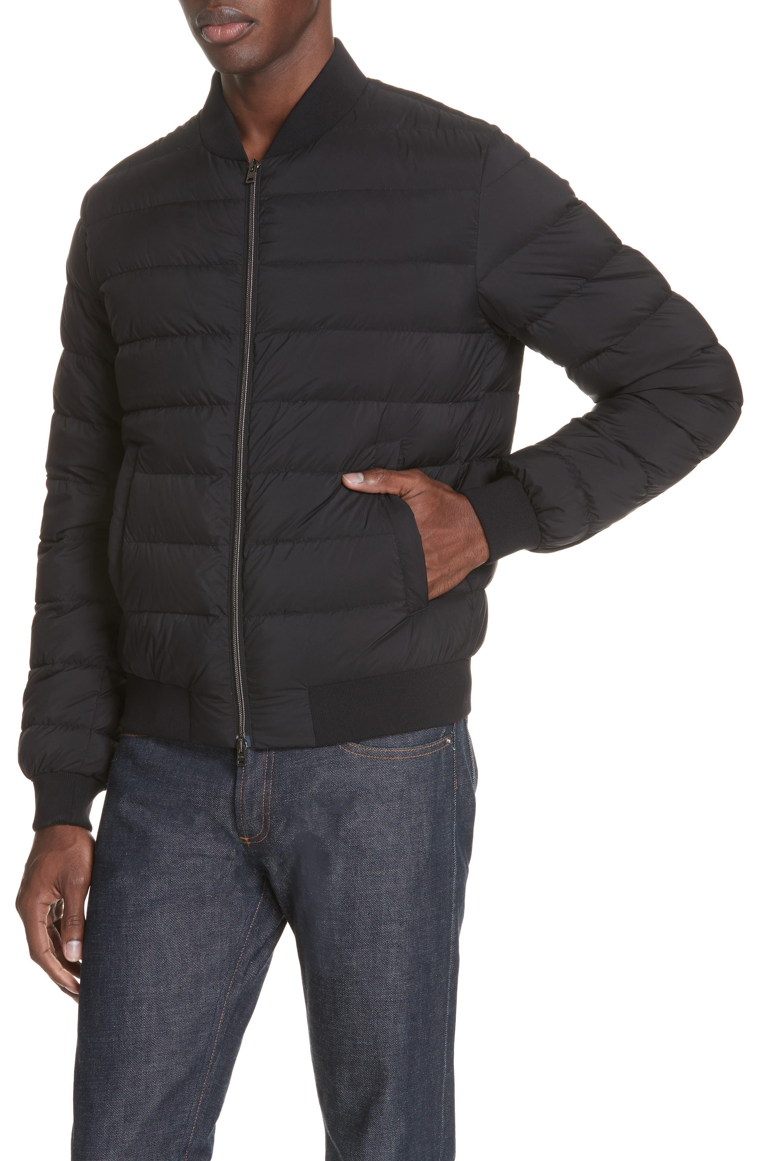 Matte Nylon Down Bomber Jacket,                             Alternate thumbnail 4, color,                             BLACK