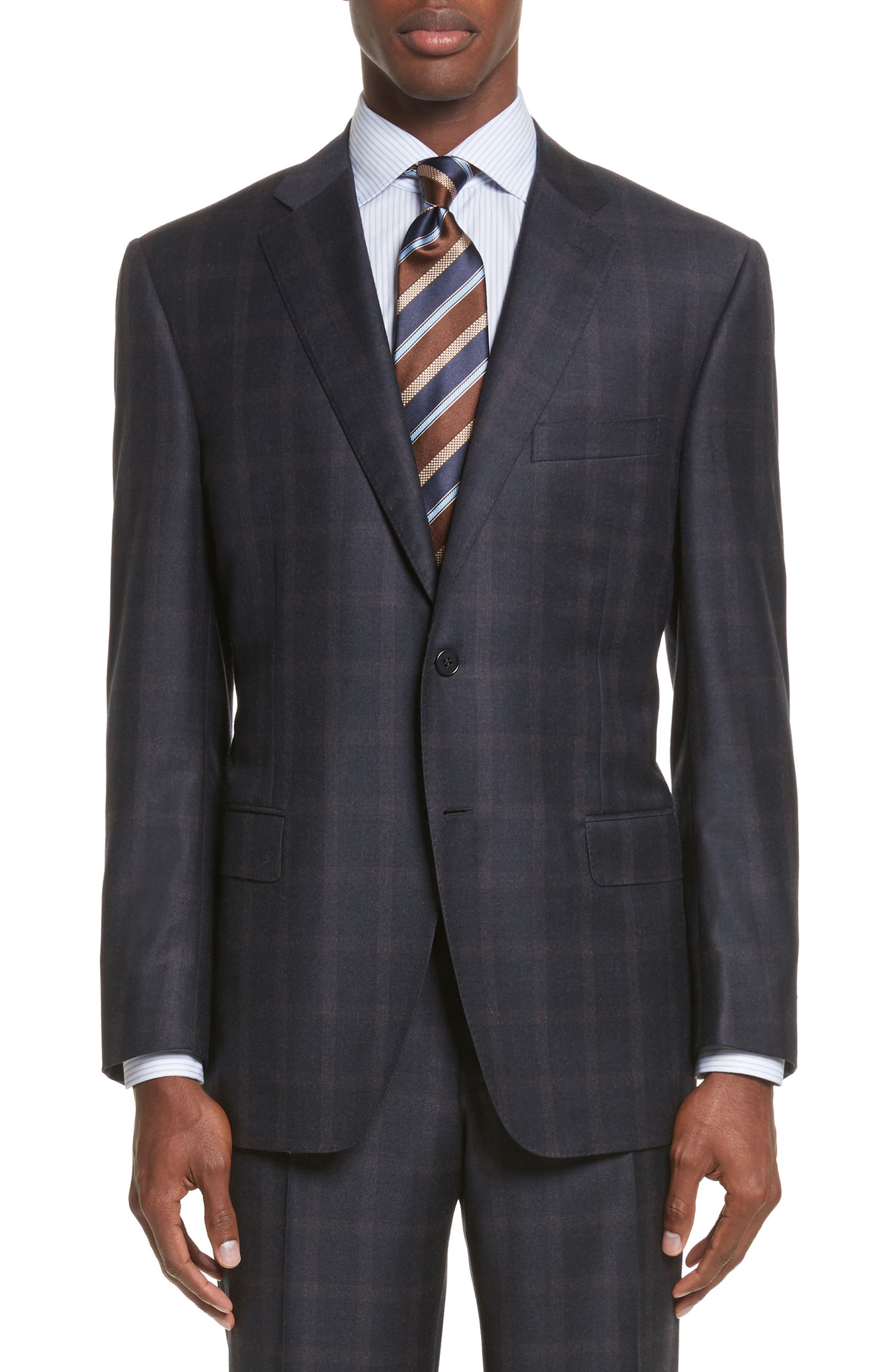 Classic Fit Plaid Wool Suit,                             Alternate thumbnail 5, color,                             420