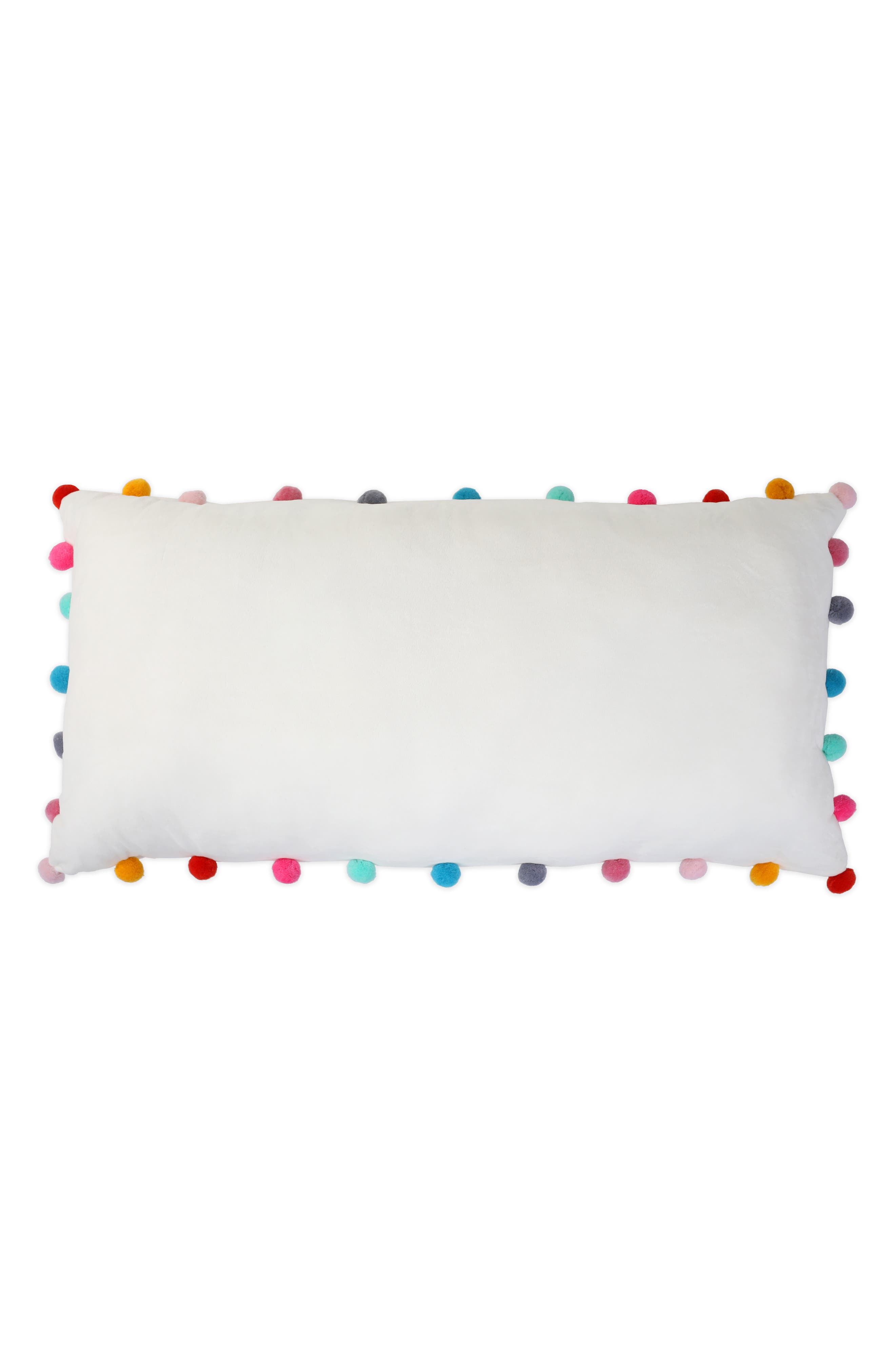 Pompom Plush Pillow,                             Alternate thumbnail 2, color,                             IVORY COMBO