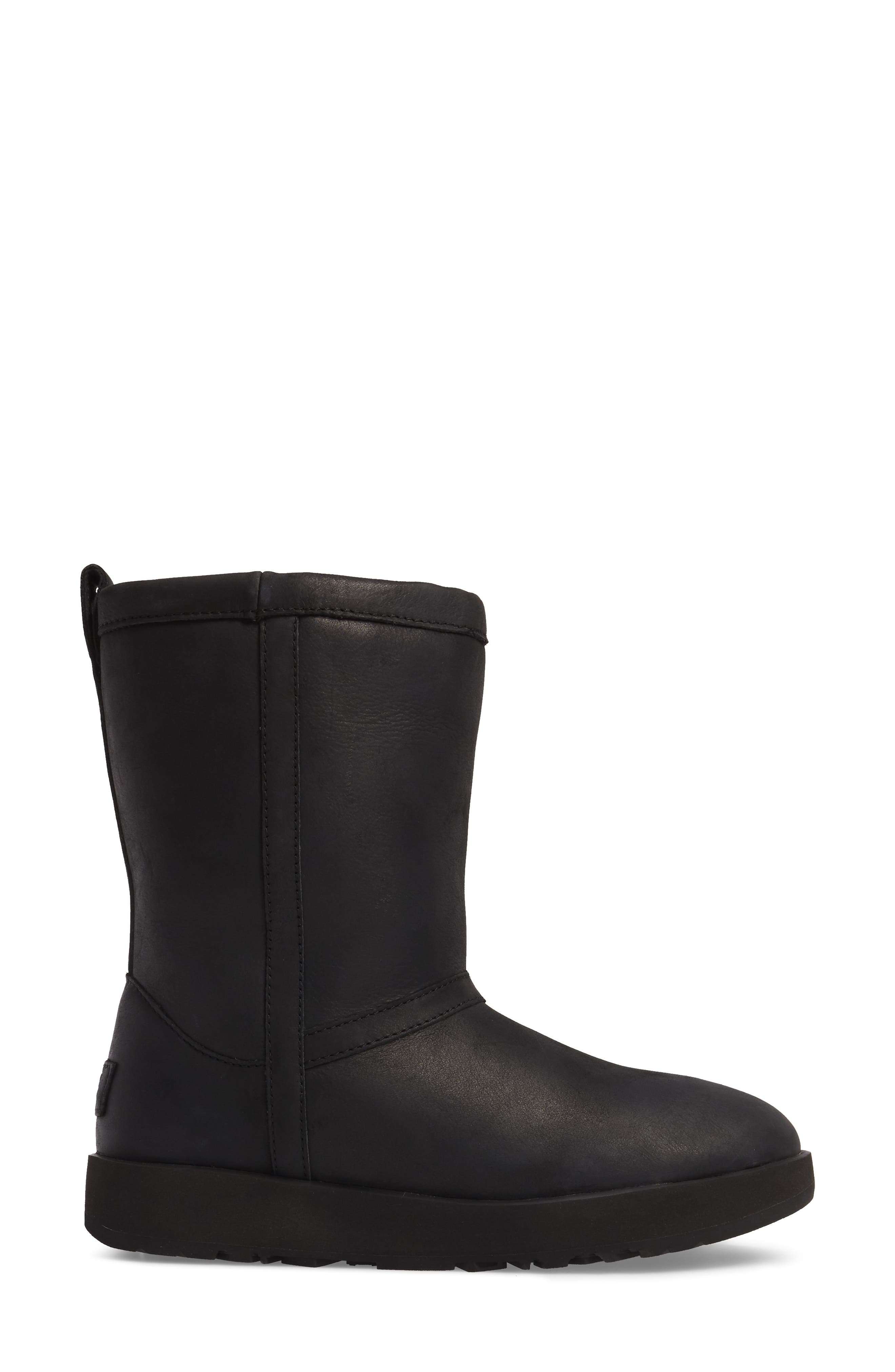 Classic Genuine Shearling Lined Short Waterproof Boot,                             Alternate thumbnail 3, color,                             BLACK LEATHER