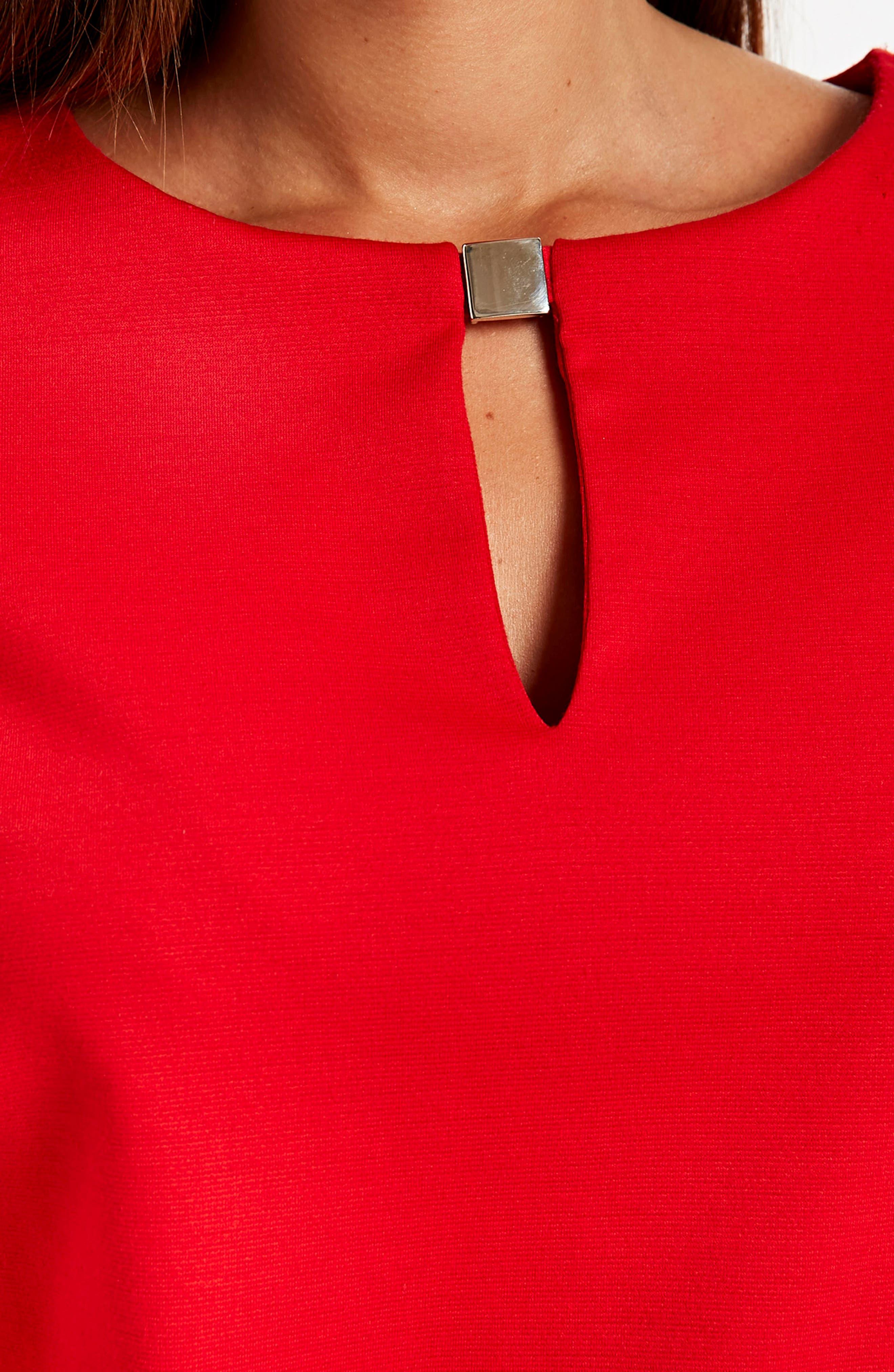 Bell Sleeve Keyhole Neck Dress,                             Alternate thumbnail 6, color,