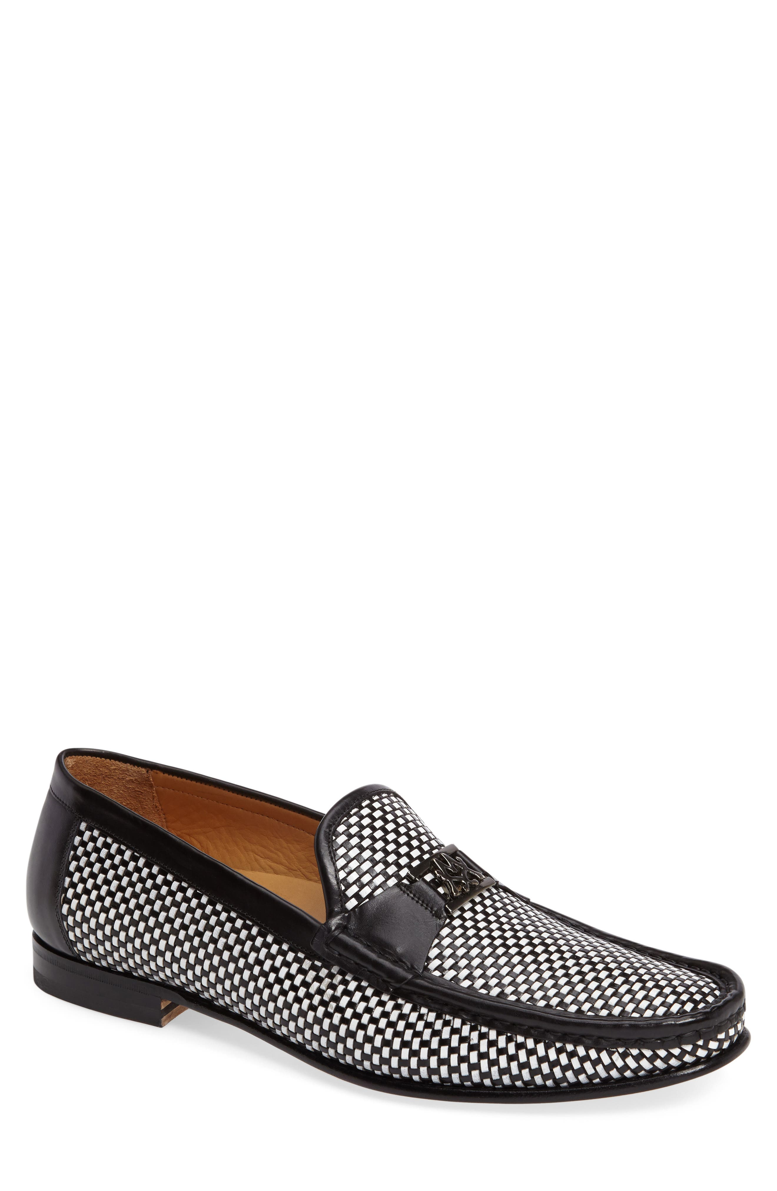 Hallman Woven Loafer,                             Main thumbnail 1, color,                             BLACK/ WHITE LEATHER