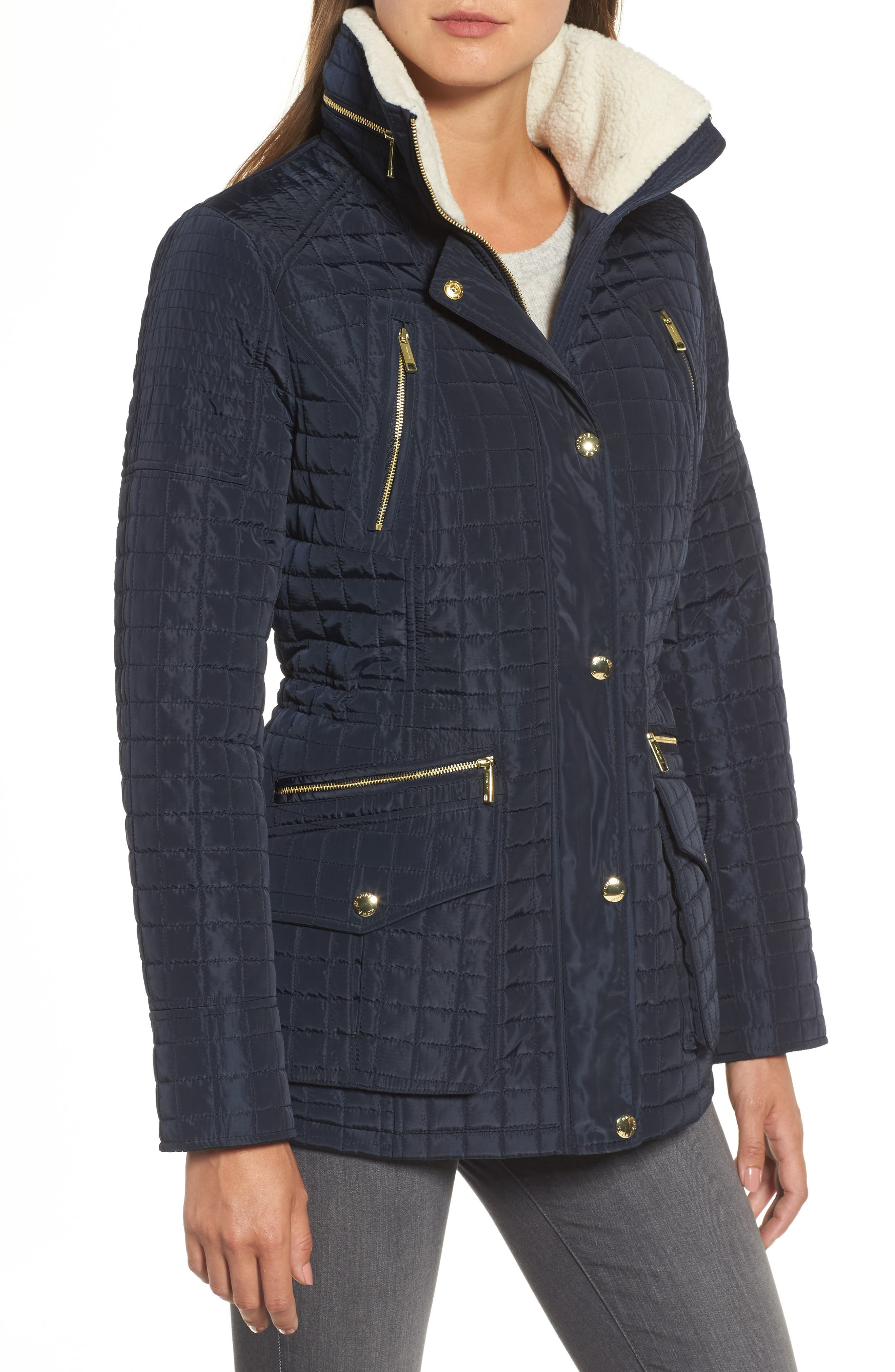 Water Resistant Quilted Anorak with Faux Shearling Trim,                             Alternate thumbnail 8, color,