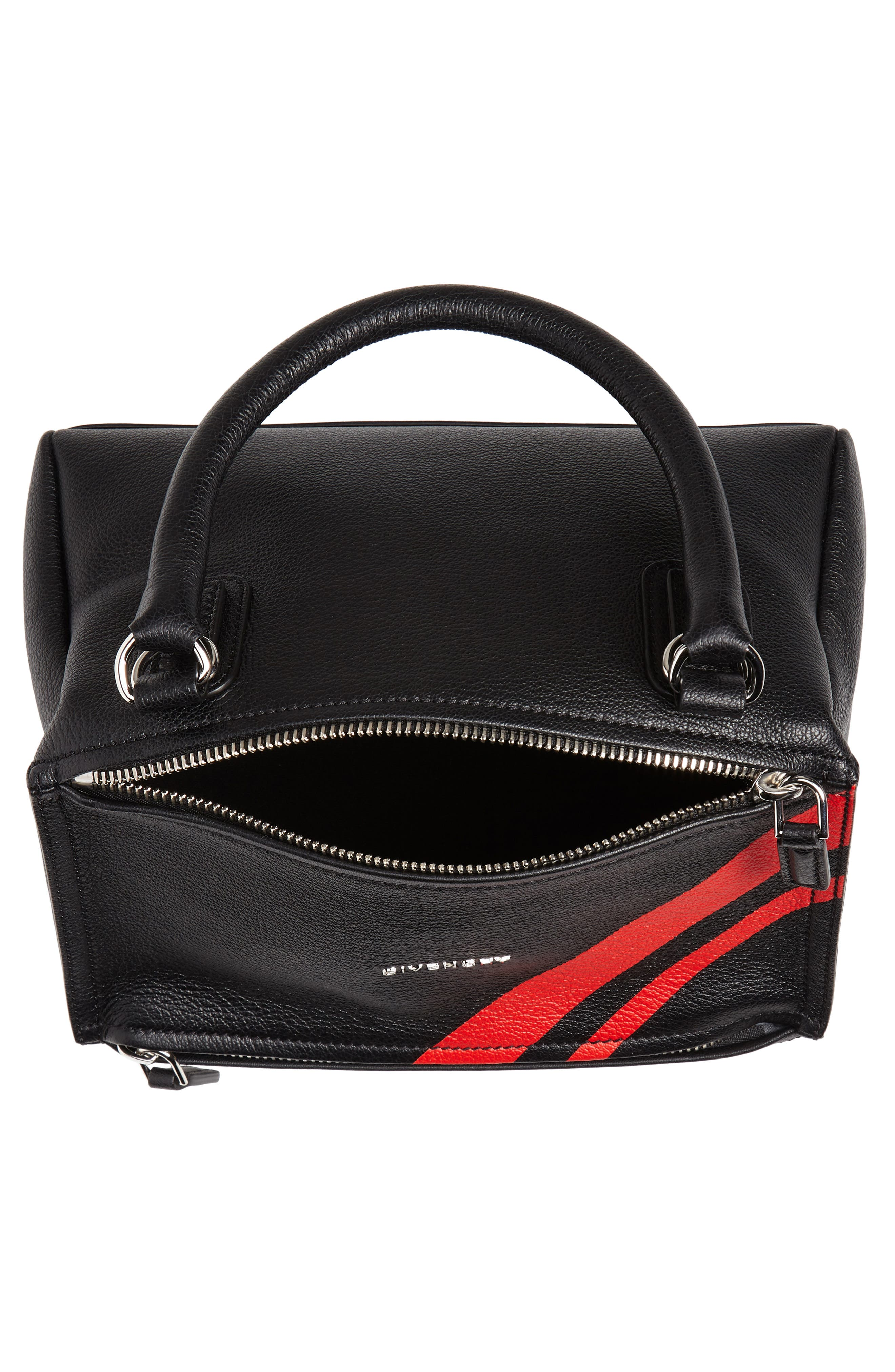 Small Pandora Stripe Leather Satchel,                             Alternate thumbnail 4, color,                             BLACK / RED
