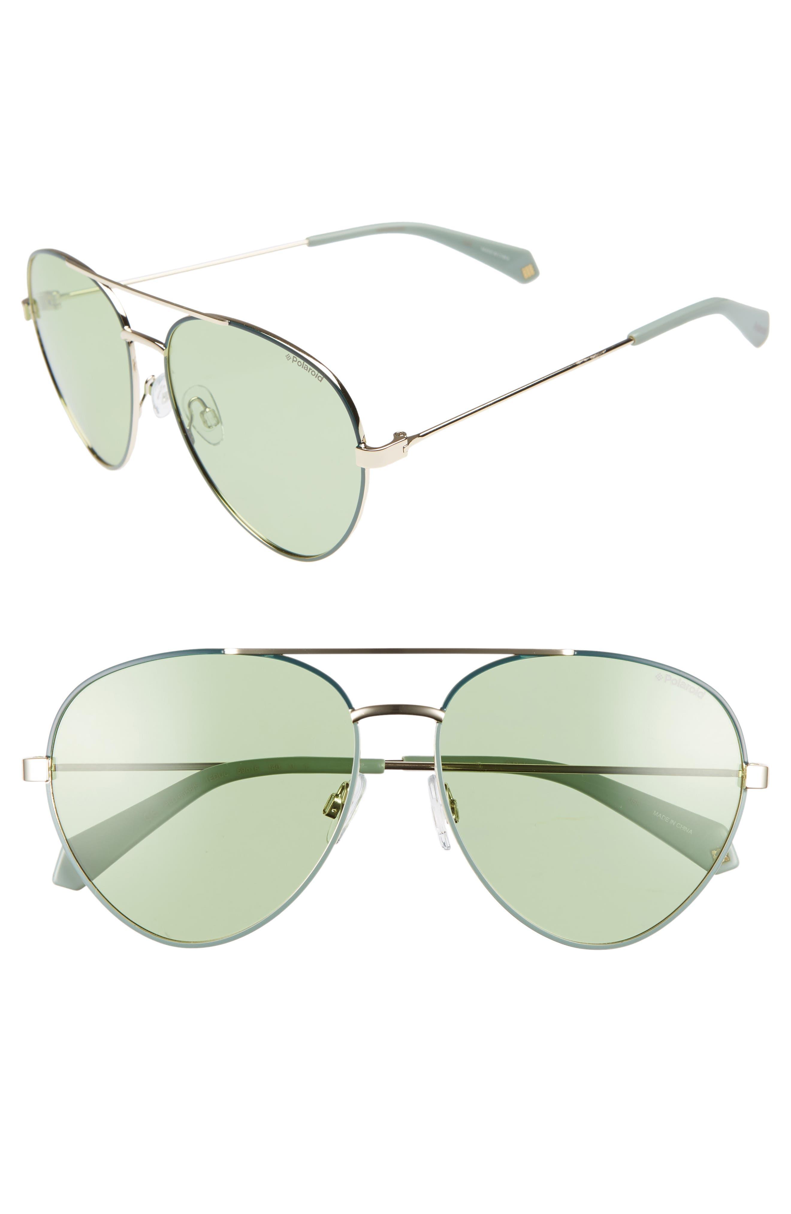 Polaroid 5m Polarized Aviator Sunglasses - Green