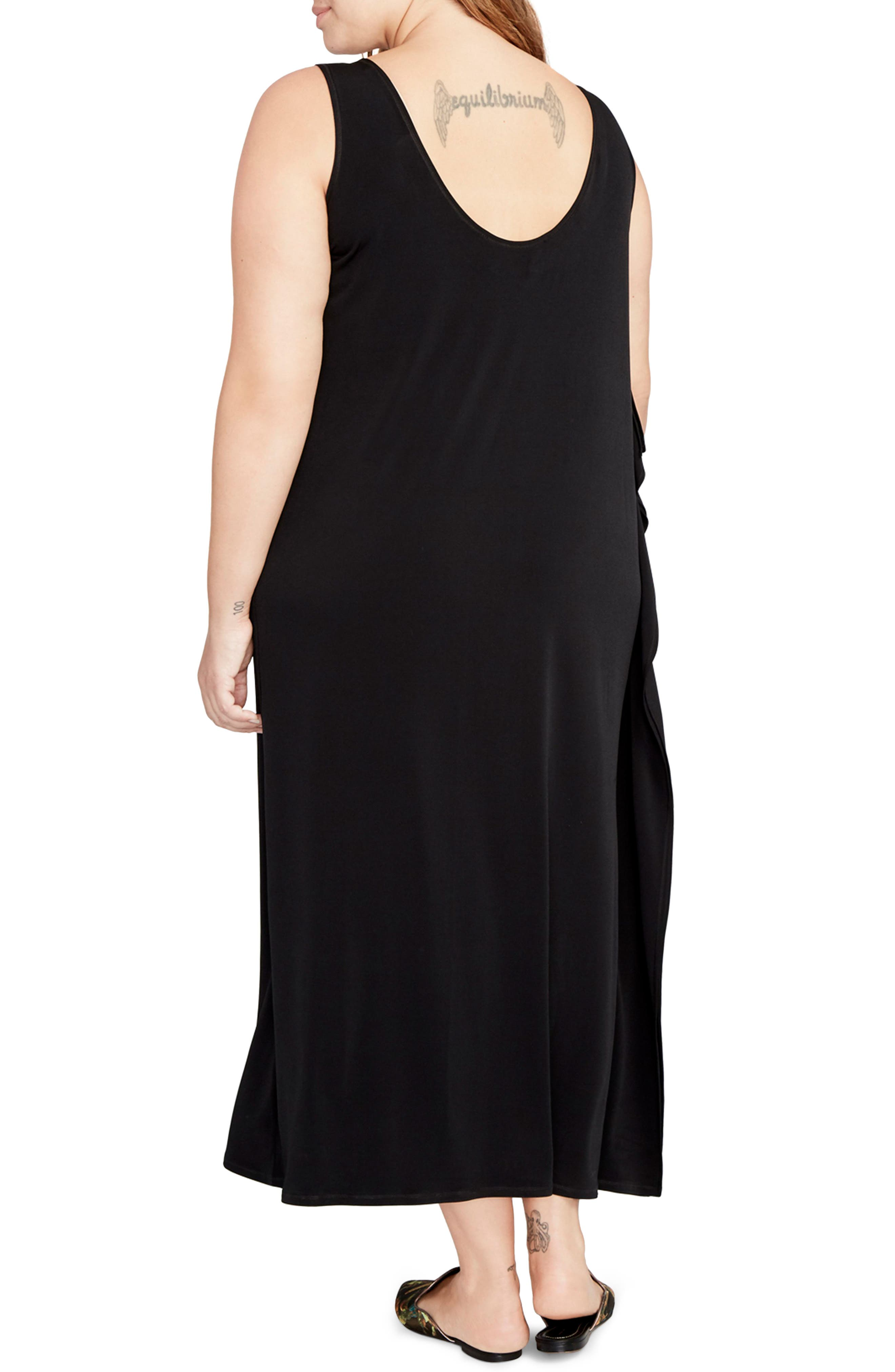 Side Drape Maxi Dress,                             Alternate thumbnail 2, color,                             001