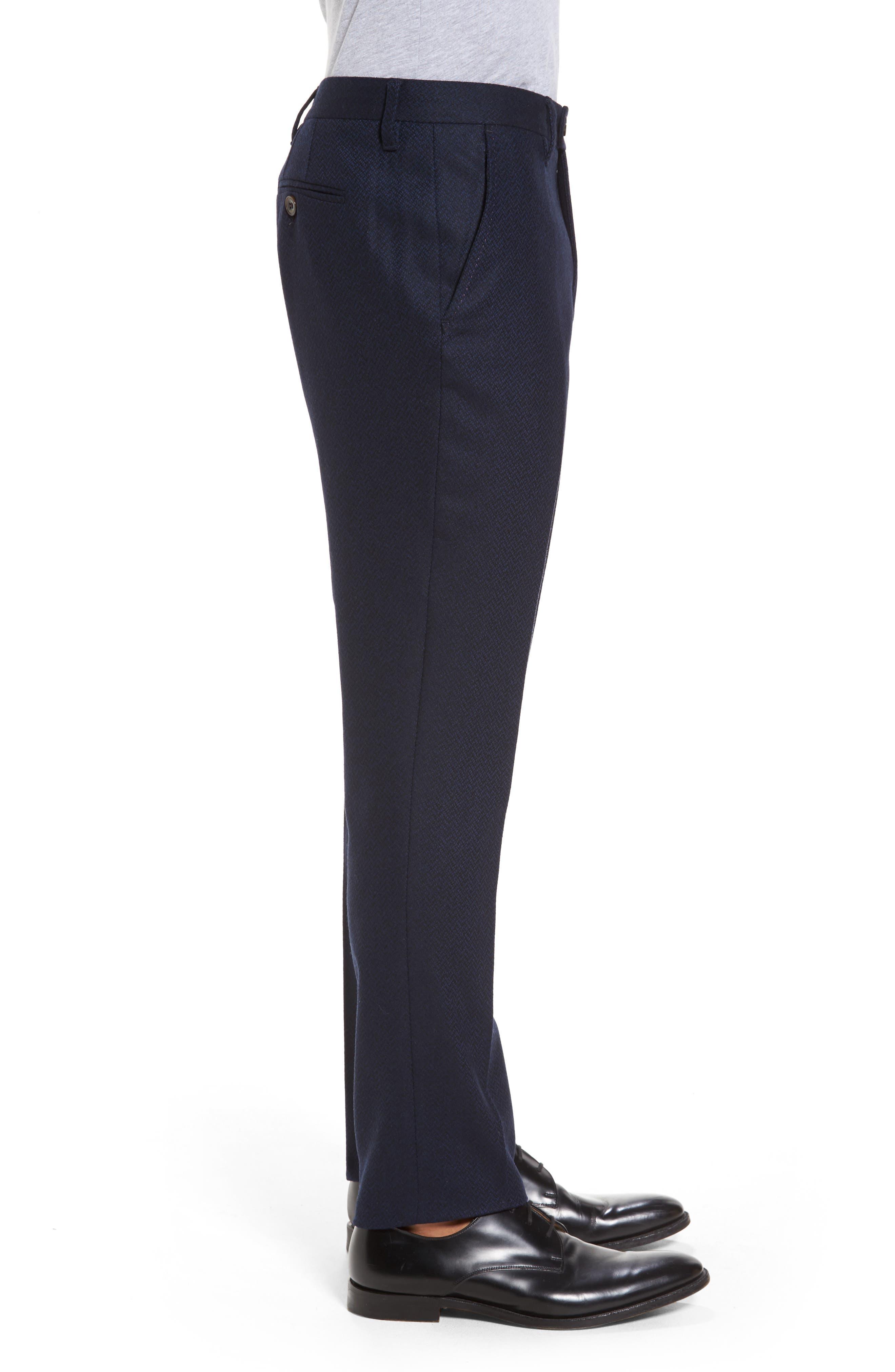 Glentro Semi Plain Wool Blend Trousers,                             Alternate thumbnail 3, color,                             410