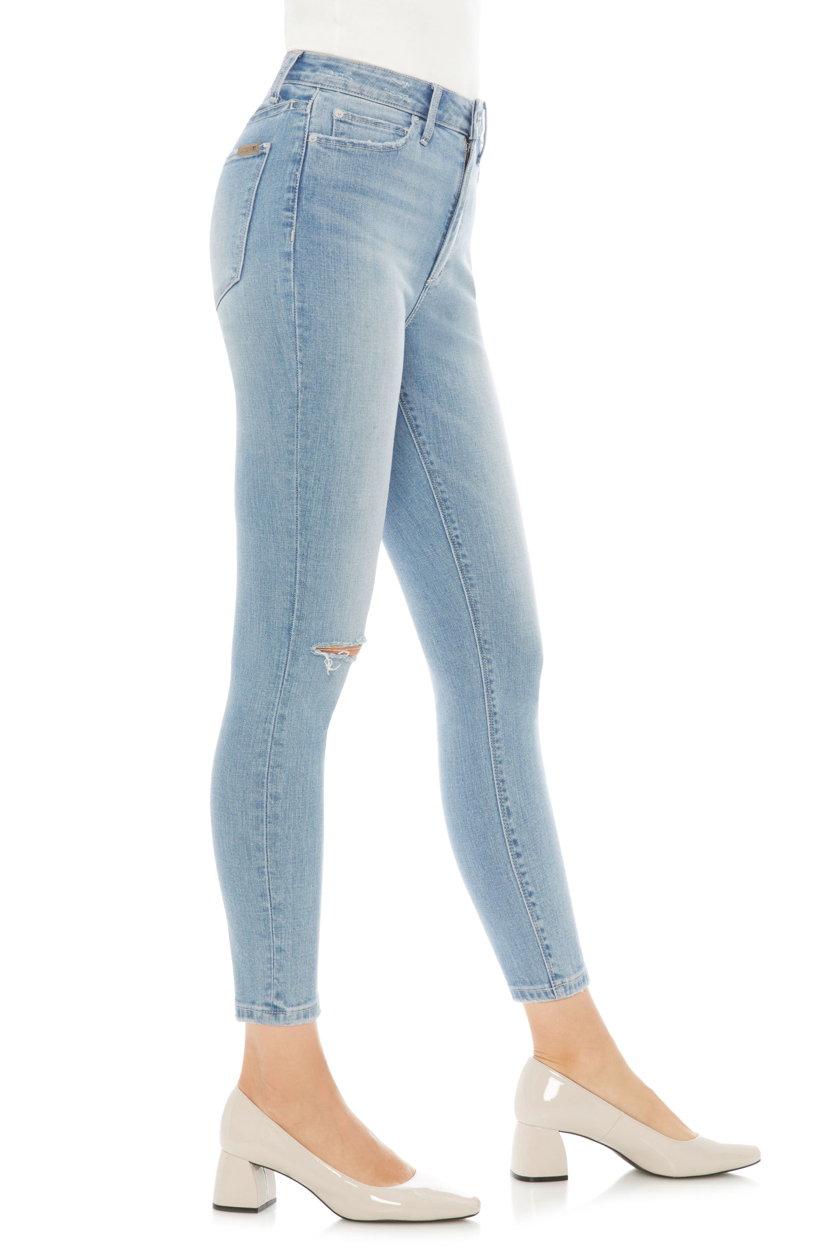 Charlie Ripped High Waist Crop Jeans,                             Alternate thumbnail 3, color,                             420