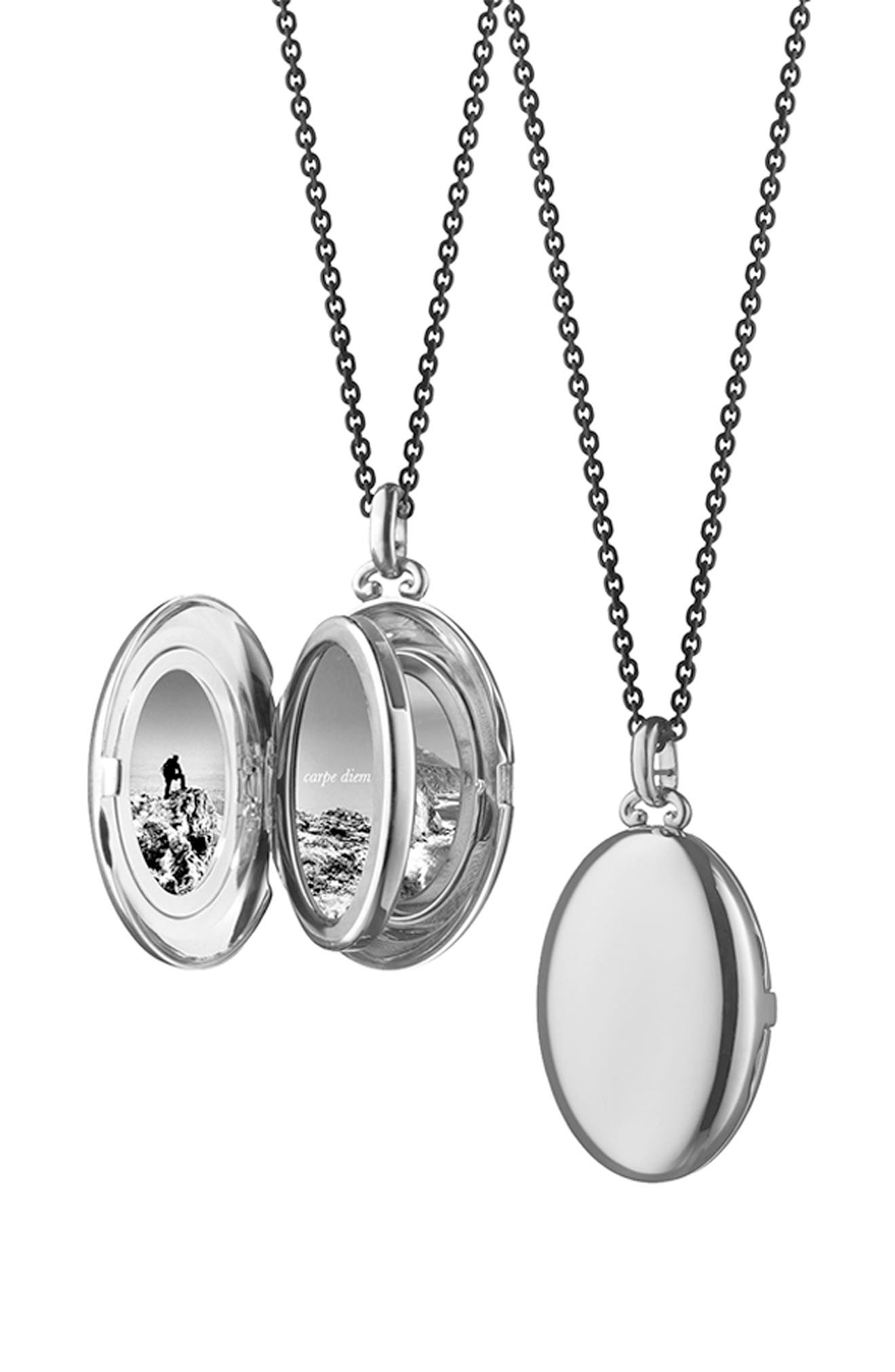 Four Image Mini Locket Necklace,                             Alternate thumbnail 4, color,                             STERLING SILVER/ BLACK STEEL