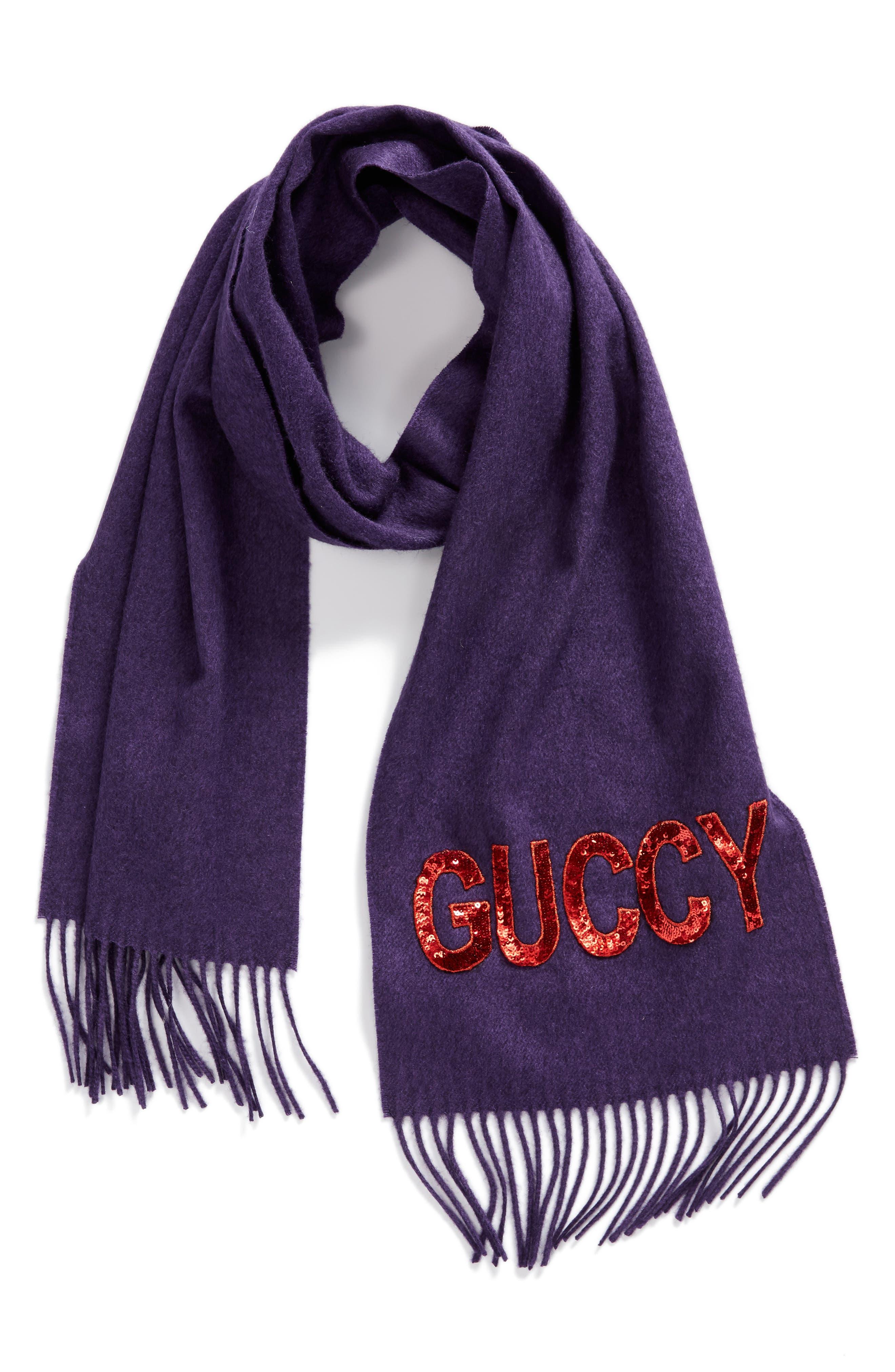 Guccy Sequin Silk & Cashmere Scarf,                             Alternate thumbnail 3, color,                             PARMA VIOLET