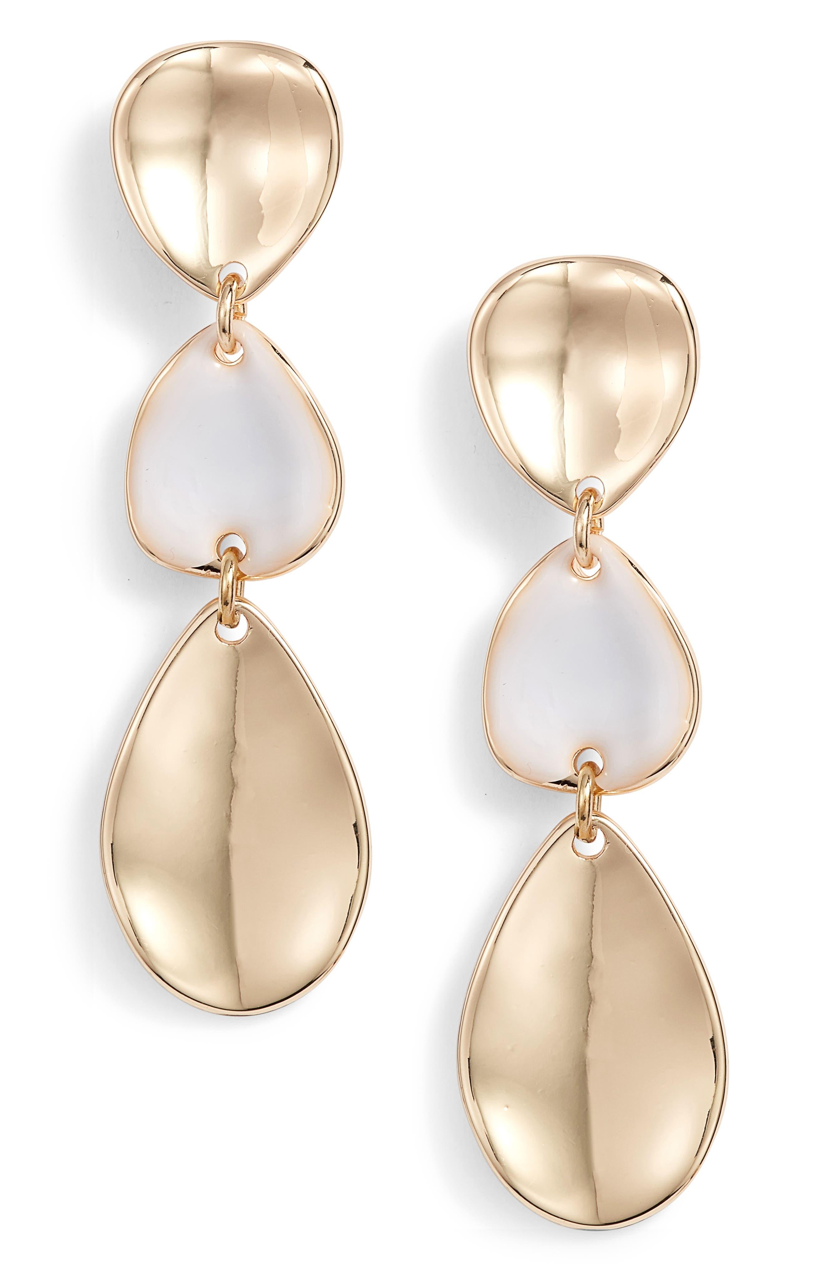 Painted Petal Triple Drop Earrings,                             Main thumbnail 1, color,                             100