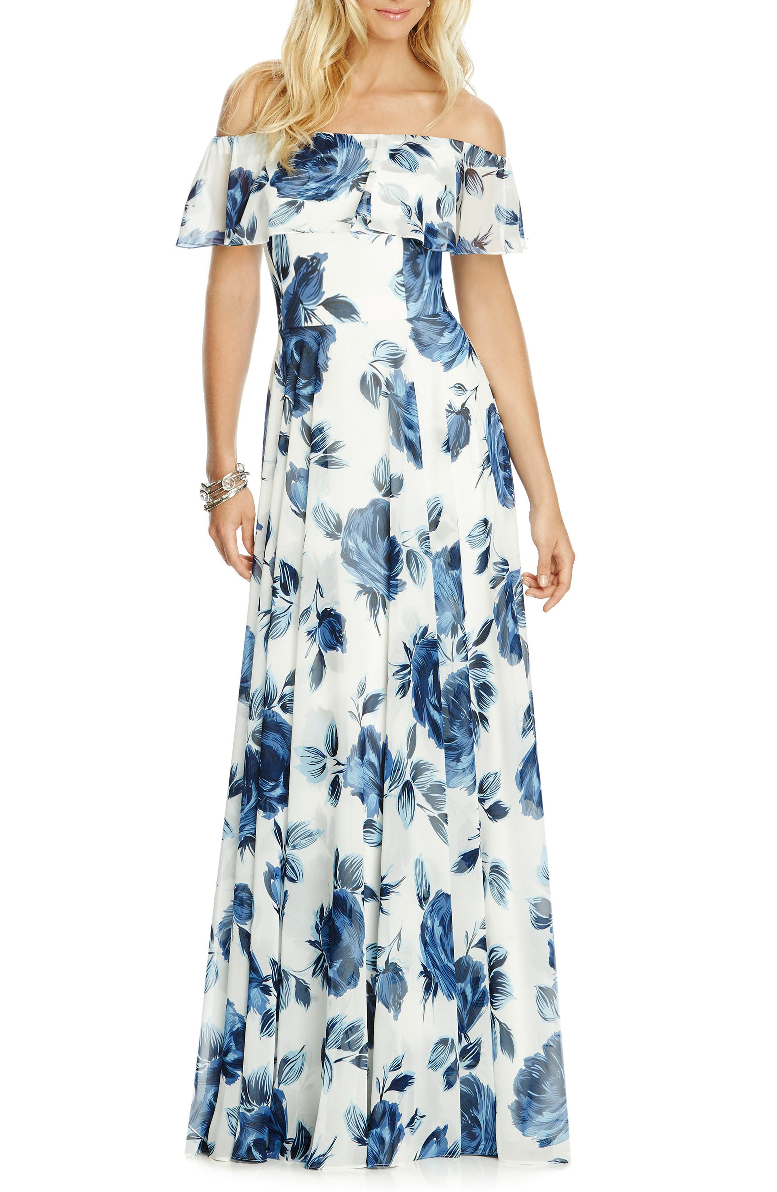 AFTER SIX,                             Floral Chiffon Off the Shoulder Gown,                             Main thumbnail 1, color,                             INDIGO ROSE
