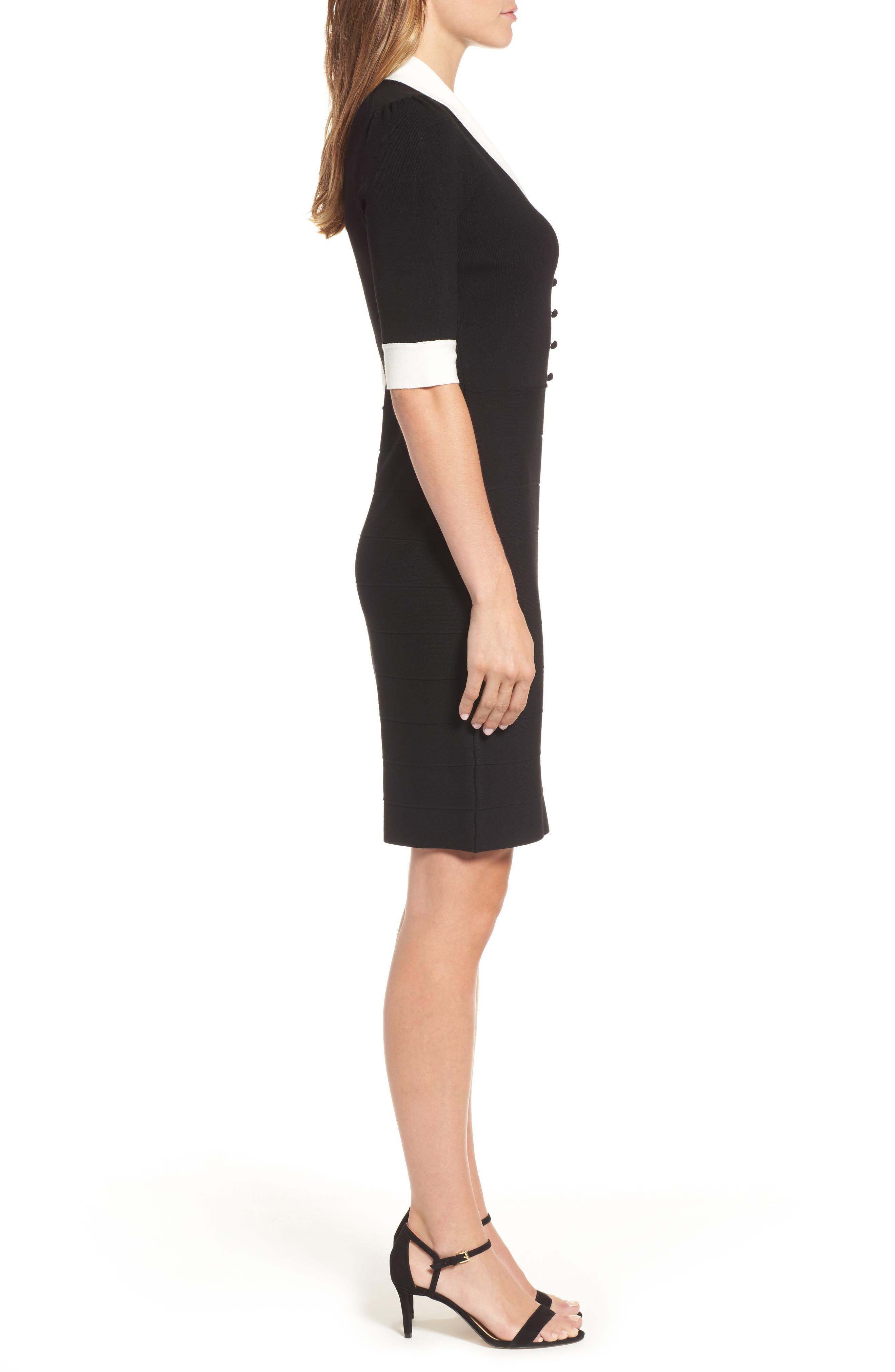 Shawl Collar Knit Sheath Dress,                             Alternate thumbnail 3, color,                             001