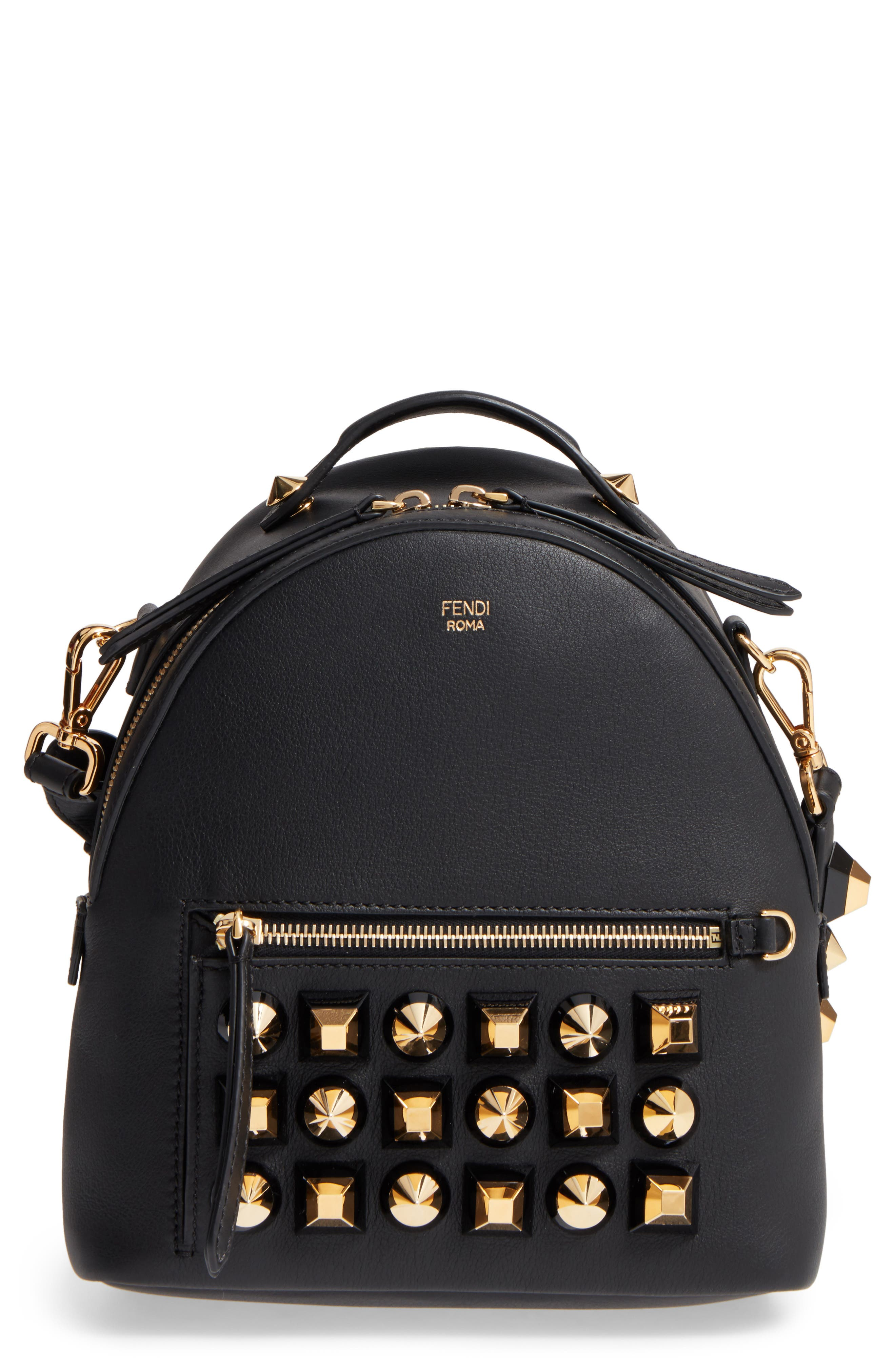 Mini Studded Leather Backpack,                             Main thumbnail 1, color,                             006