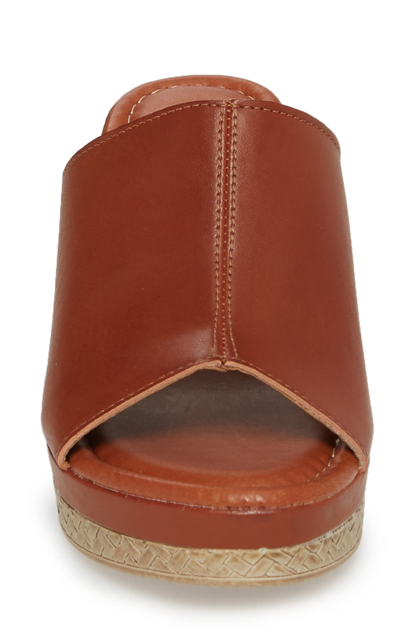 by Easy Street<sup>®</sup> Octavia Espadrille Wedge,                             Alternate thumbnail 4, color,                             COGNAC FAUX LEATHER