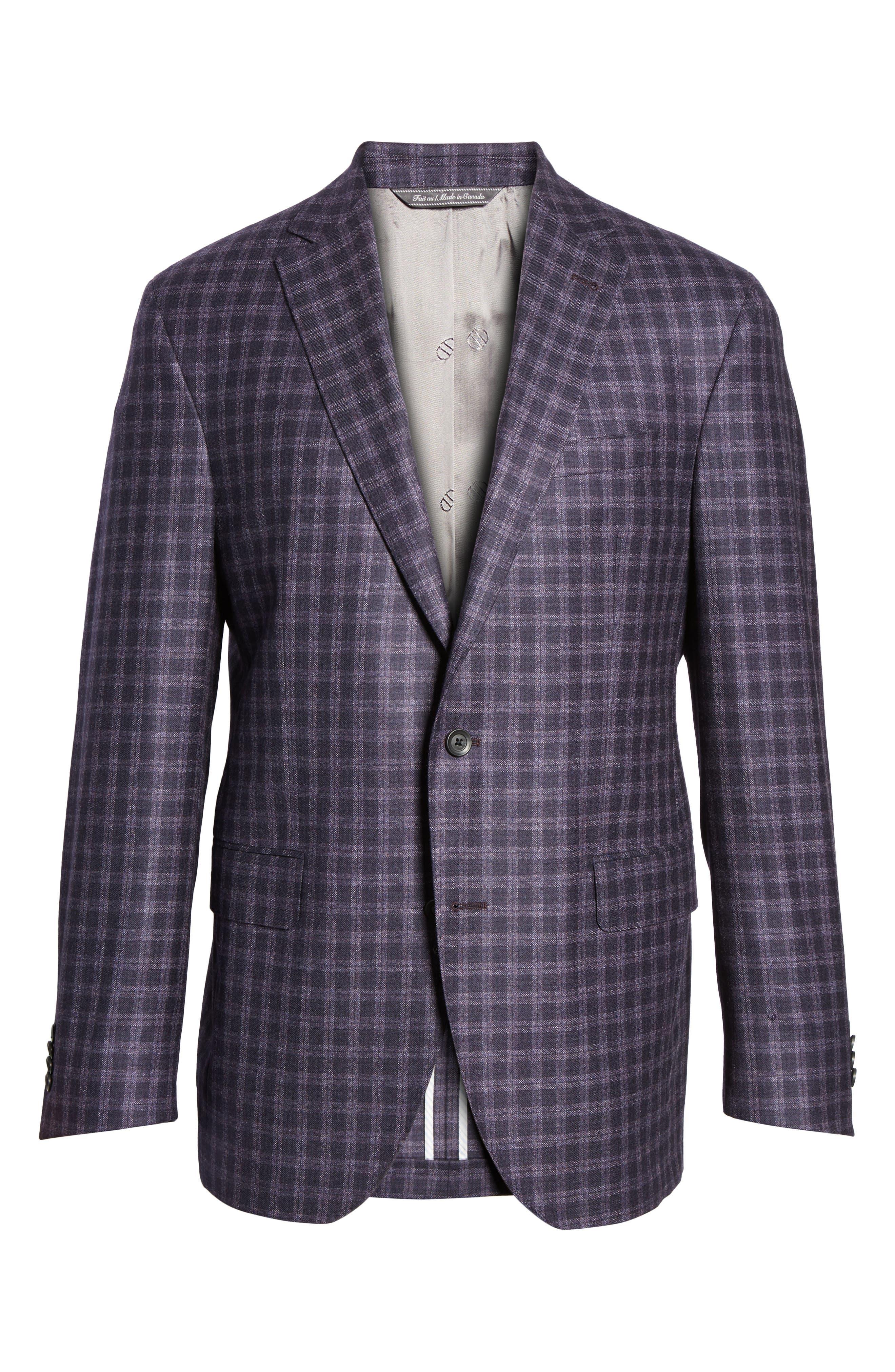 Ashton Classic Fit Check Wool Sport Coat,                             Alternate thumbnail 5, color,                             930