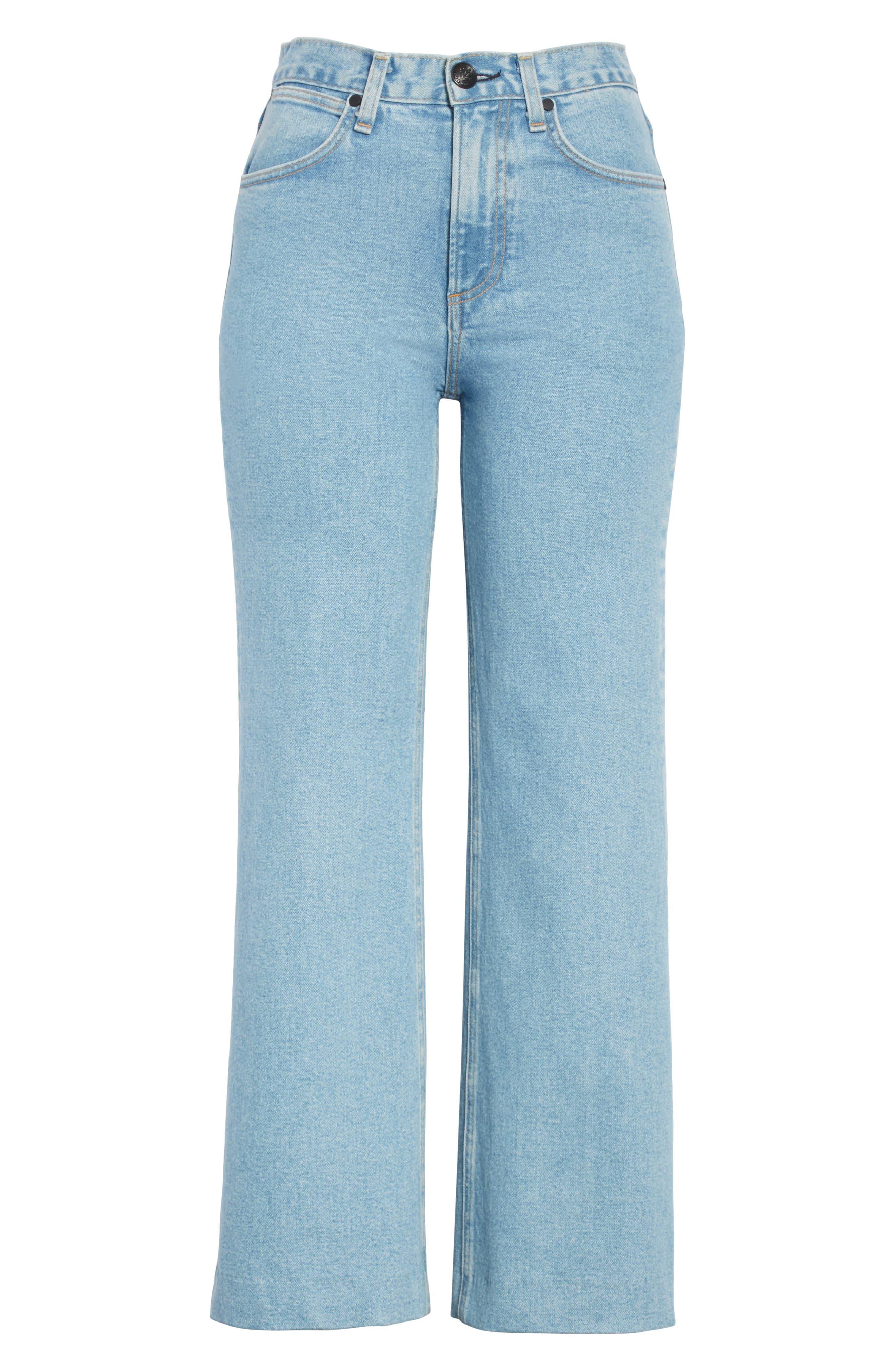 Justine High Waist Wide Leg Trouser Jeans,                             Alternate thumbnail 6, color,                             450