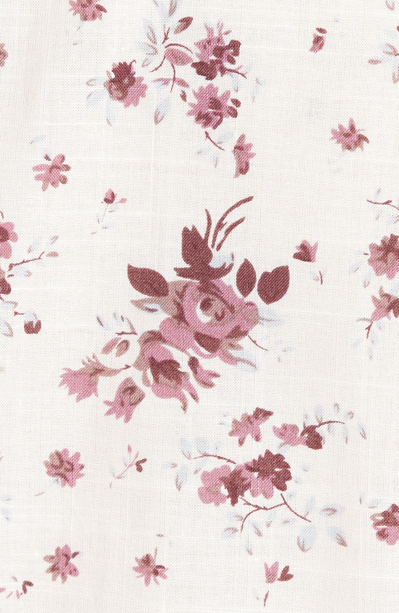 Regular Fit Floral Woven Shirt,                             Alternate thumbnail 5, color,                             ANTIQUE ROSE