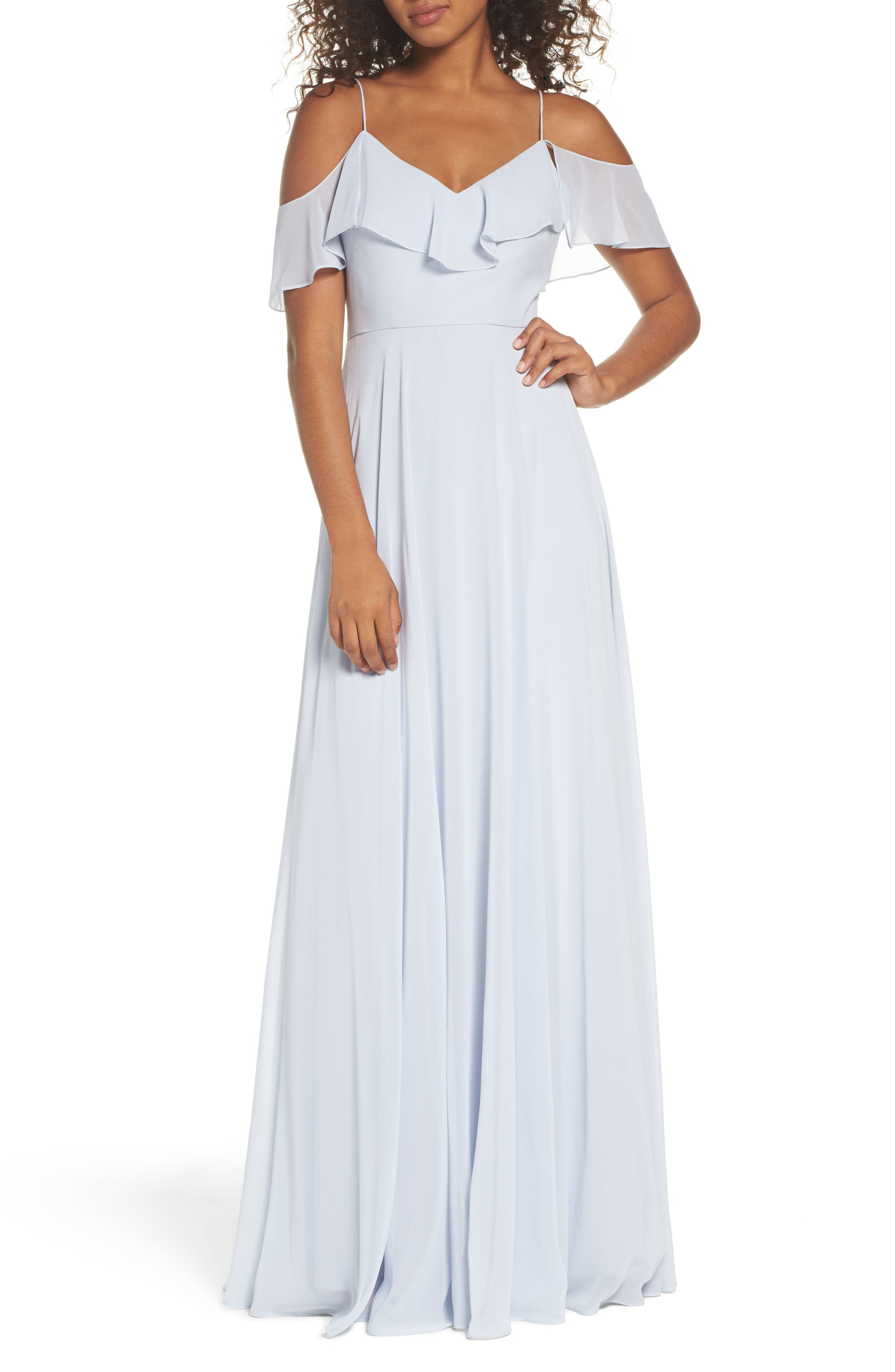 Cold Shoulder Chiffon Gown in Whisper Blue