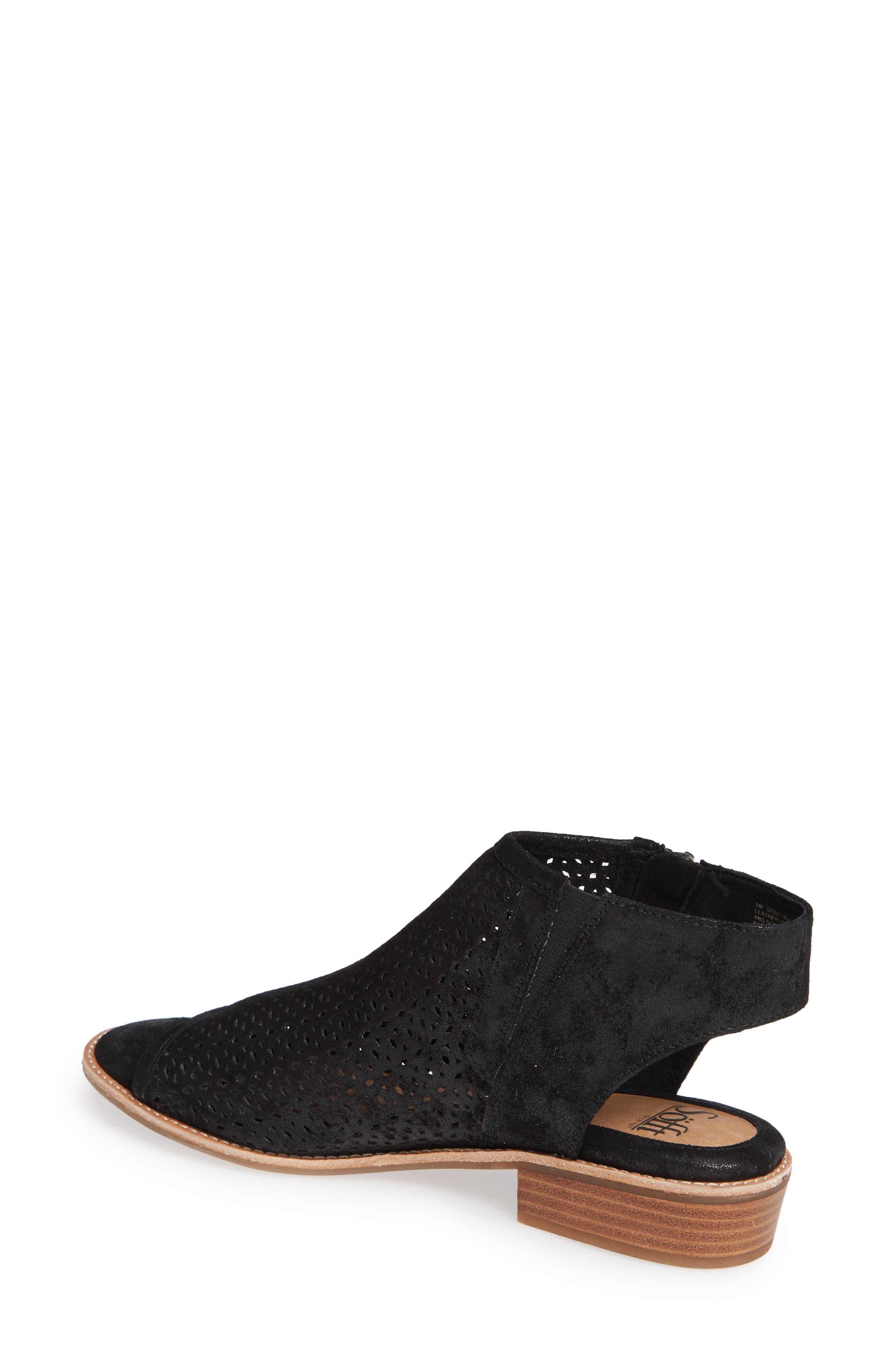 Natesa Perforated Sandal,                             Alternate thumbnail 2, color,                             BLACK SUEDE